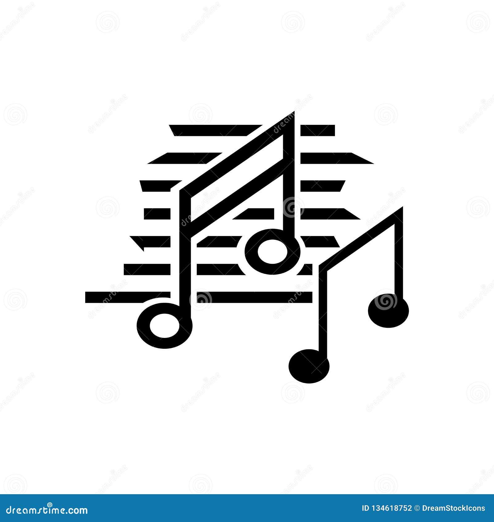 Signe Et Symbole De Vecteur D Icone De Noir De Note De Musique D