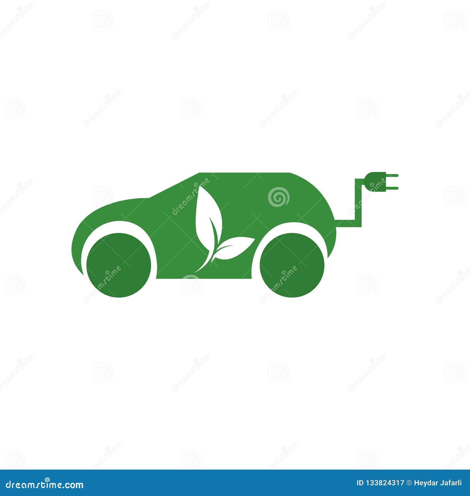 Signe et symbole de vecteur d icône de voiture hybride d isolement sur le fond blanc, concept de logo de voiture hybride