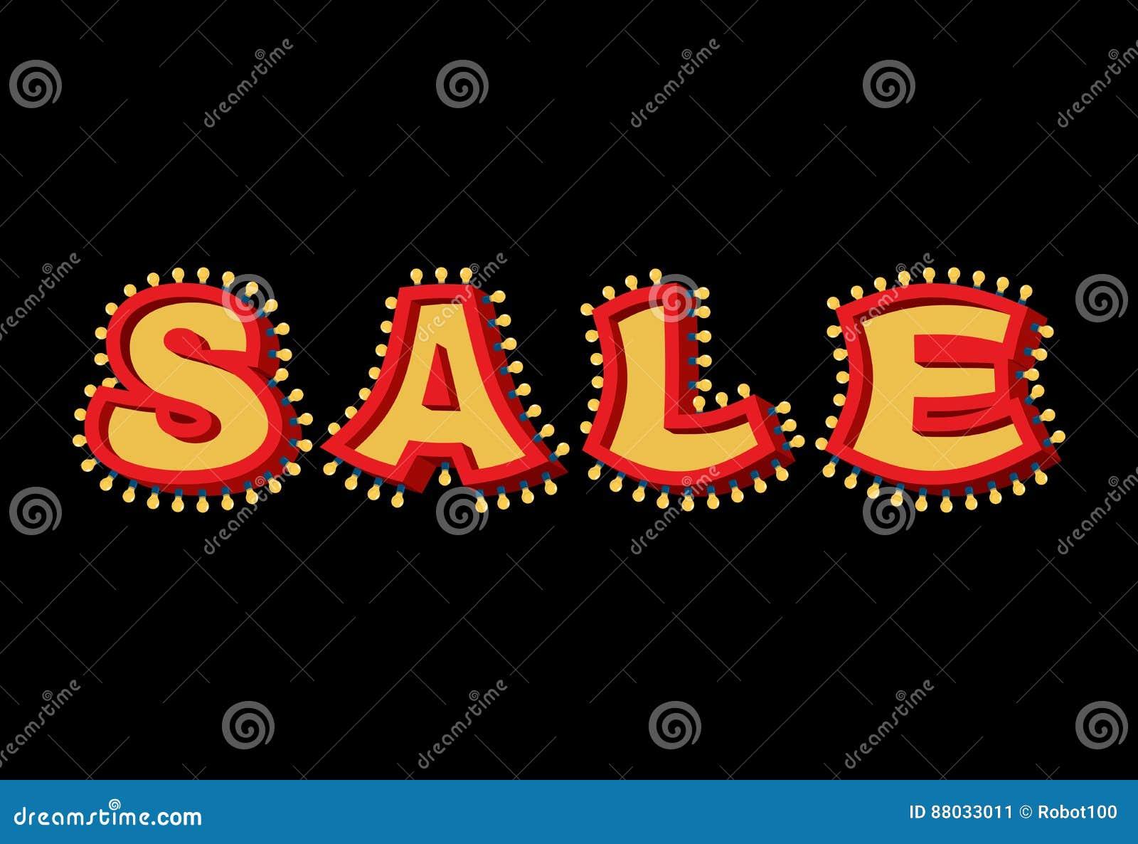 Signe léger de vente avec des lampes ampoule de lettre de remise rétro vi