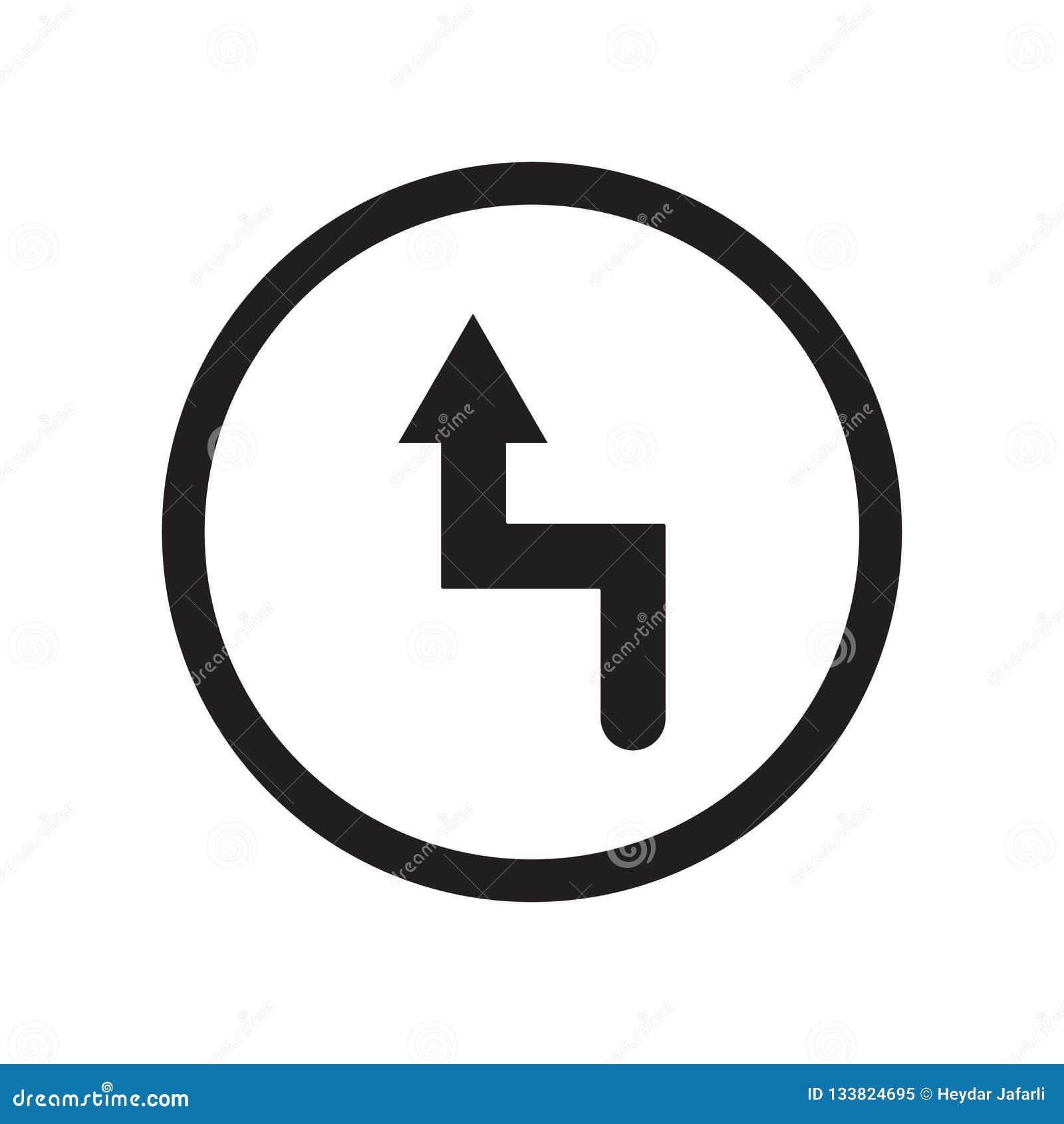 Signe laissé et symbole de vecteur d icône de courbure d isolement sur le fond blanc, concept gauche de logo de courbure