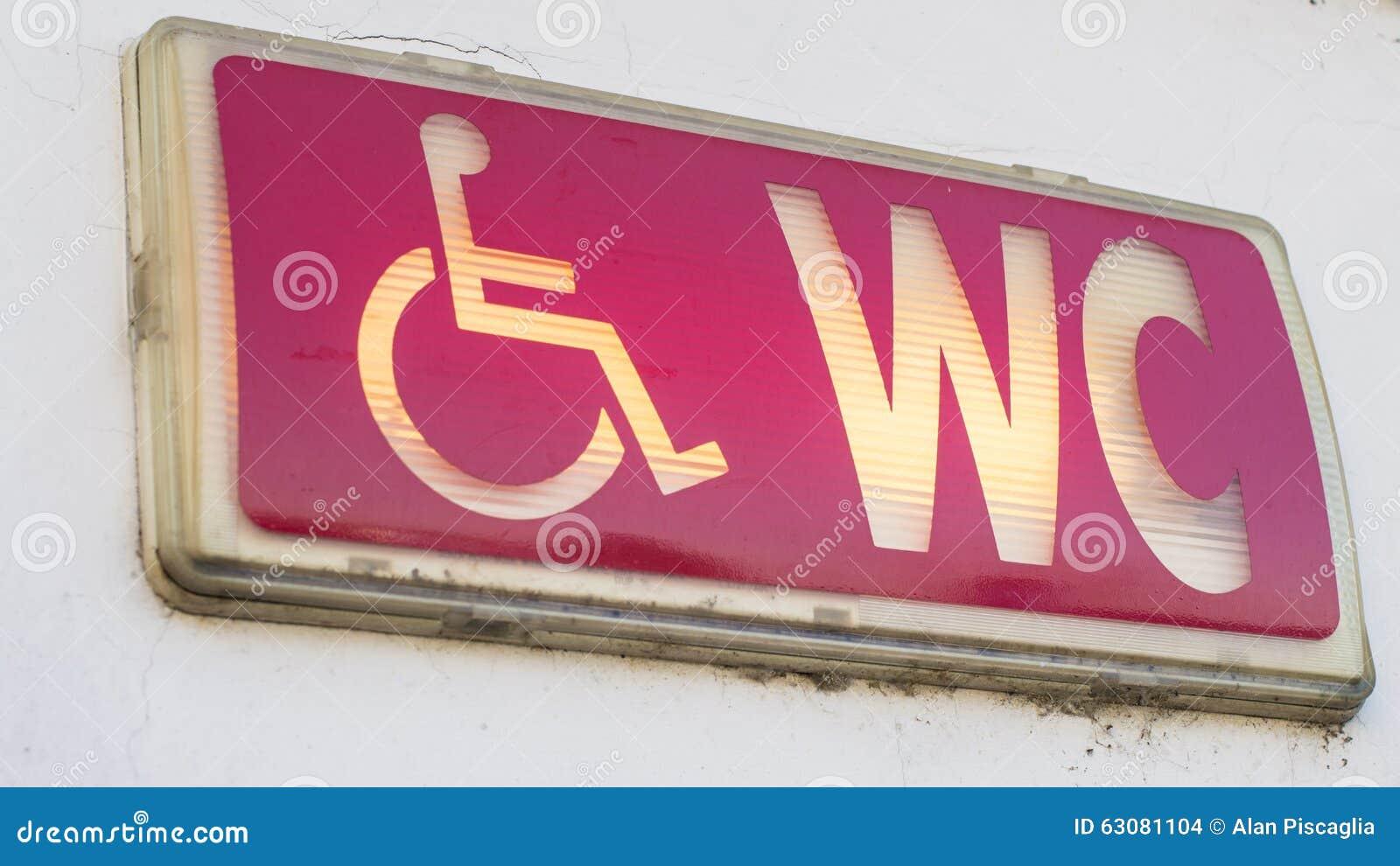 Download Signe Lumineux Par Toilettes D'handicap Illustration Stock - Illustration du affaiblissement, accès: 63081104