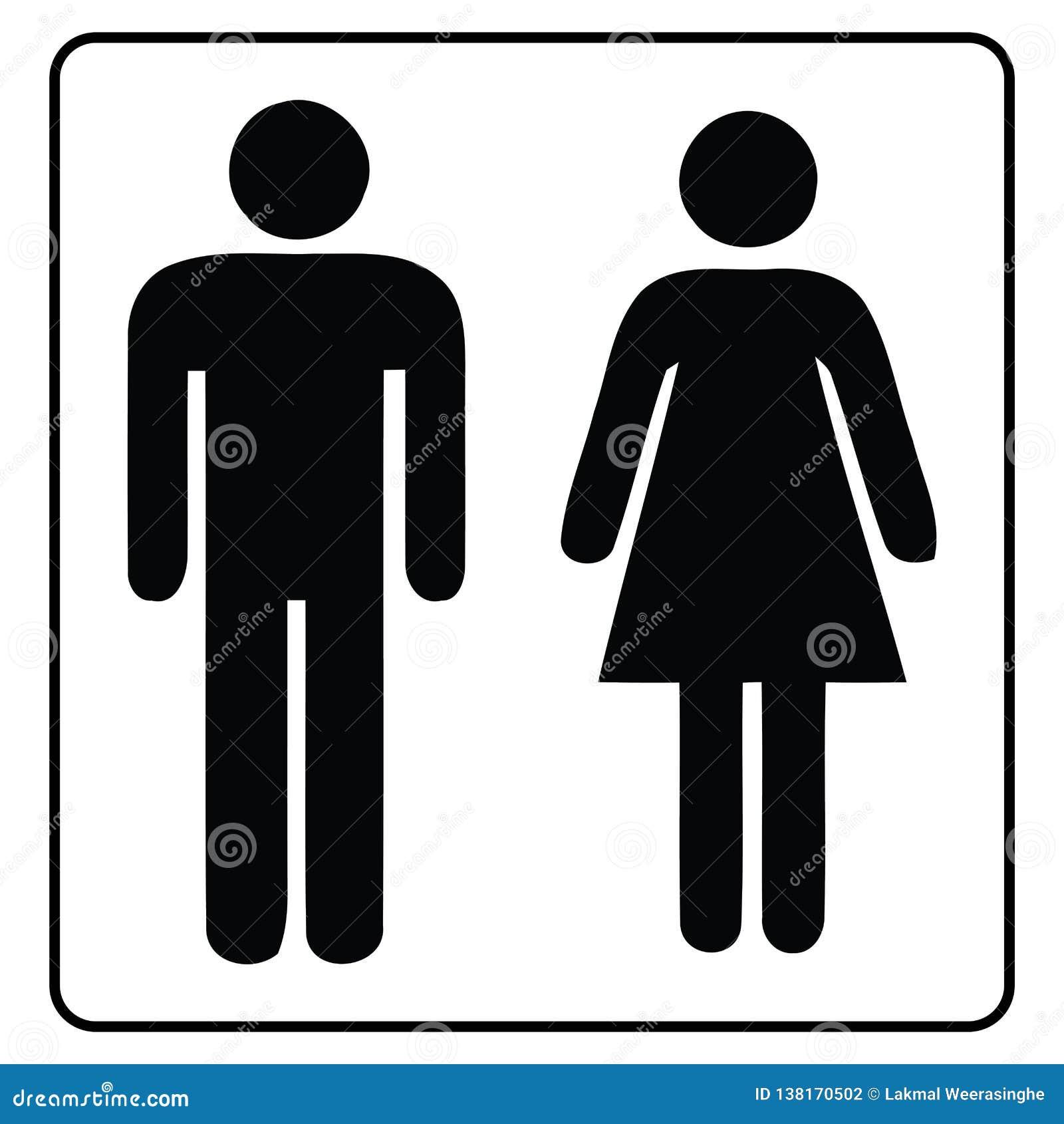 Signe-mâle et femelle de salle de toilette