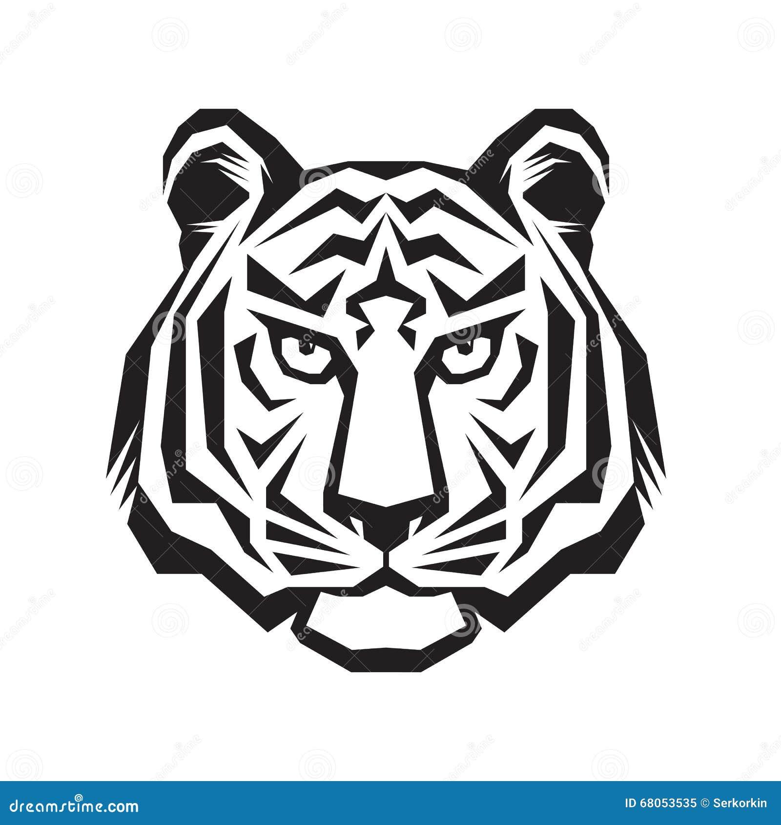 Signe principal de silhouette de tigre art de tatouage de - Image tete de tigre ...