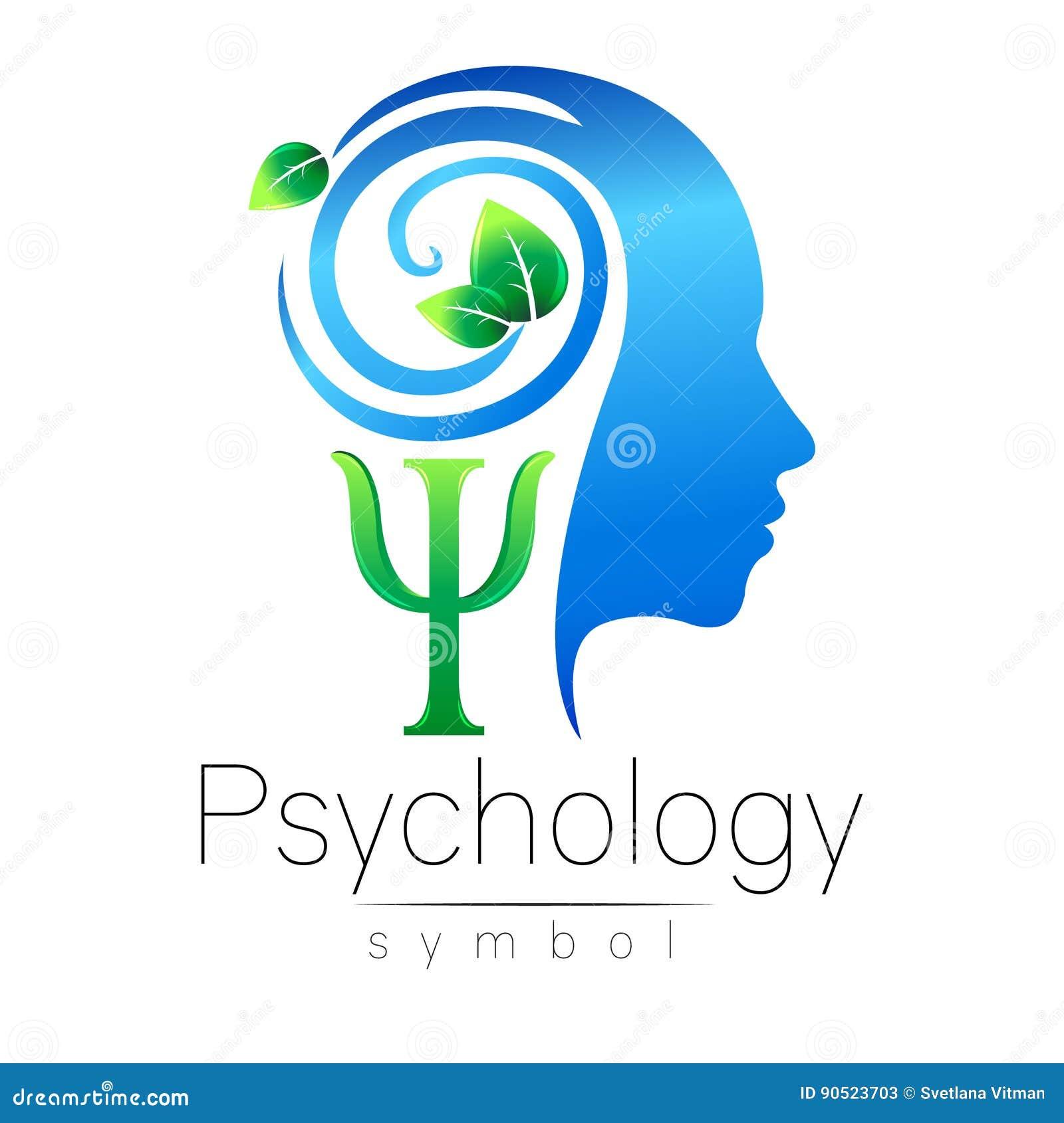 Signe principal moderne de logo de la psychologie Humain de profil lames de vert Lettre livre par pouce carré Symbole dans le vec