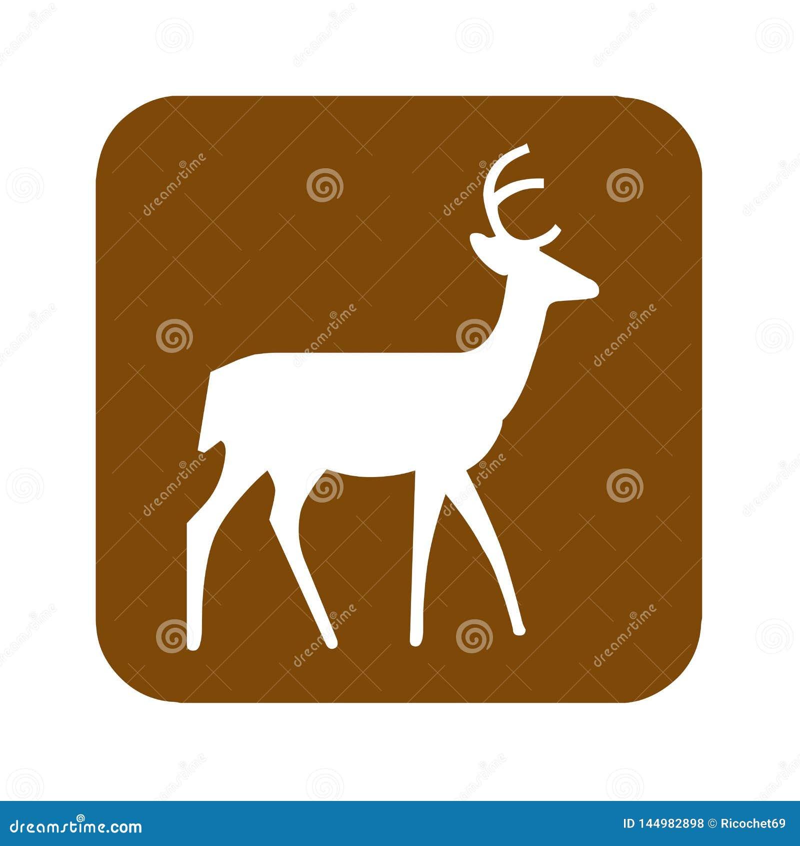 Signe récréationnel de visionnement de secteur de cerfs communs de Brown