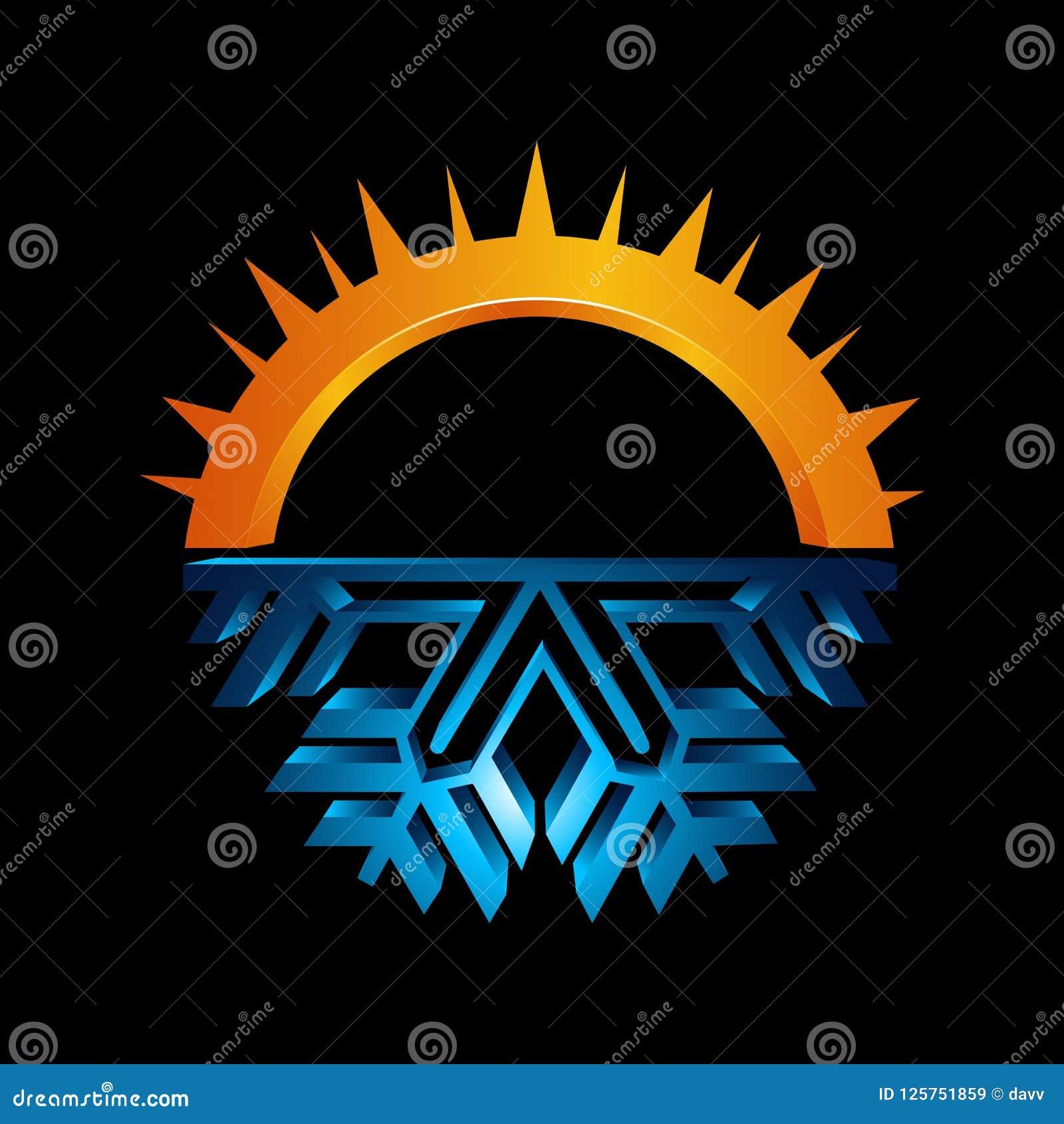Signe rond chaud et froid Icône d équilibre de la température Sun et snowf