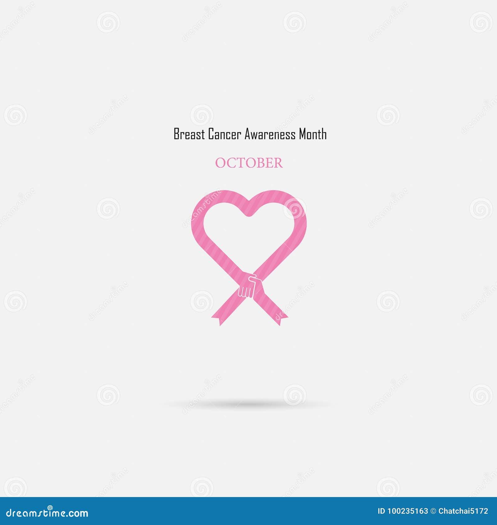 Signe rose de ruban de coeur Came de mois de conscience d octobre de cancer du sein