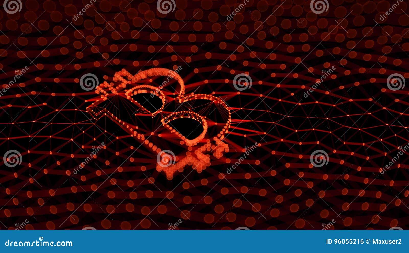 Signe rouge abstrait de Bitcoin établi comme choix de transactions dans l illustration 3d conceptuelle de Blockchain