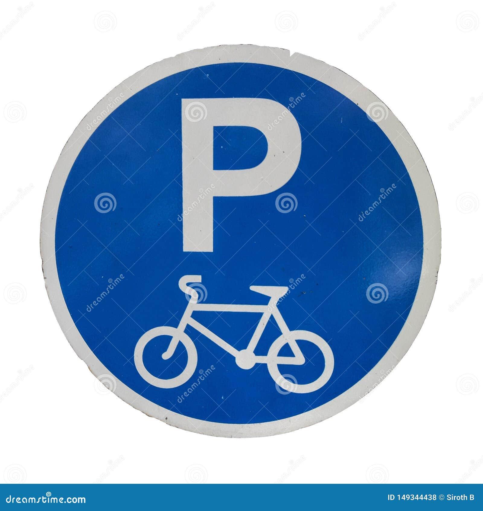 Signe se garant de symbole de bicyclette d isolement sur les milieux blancs