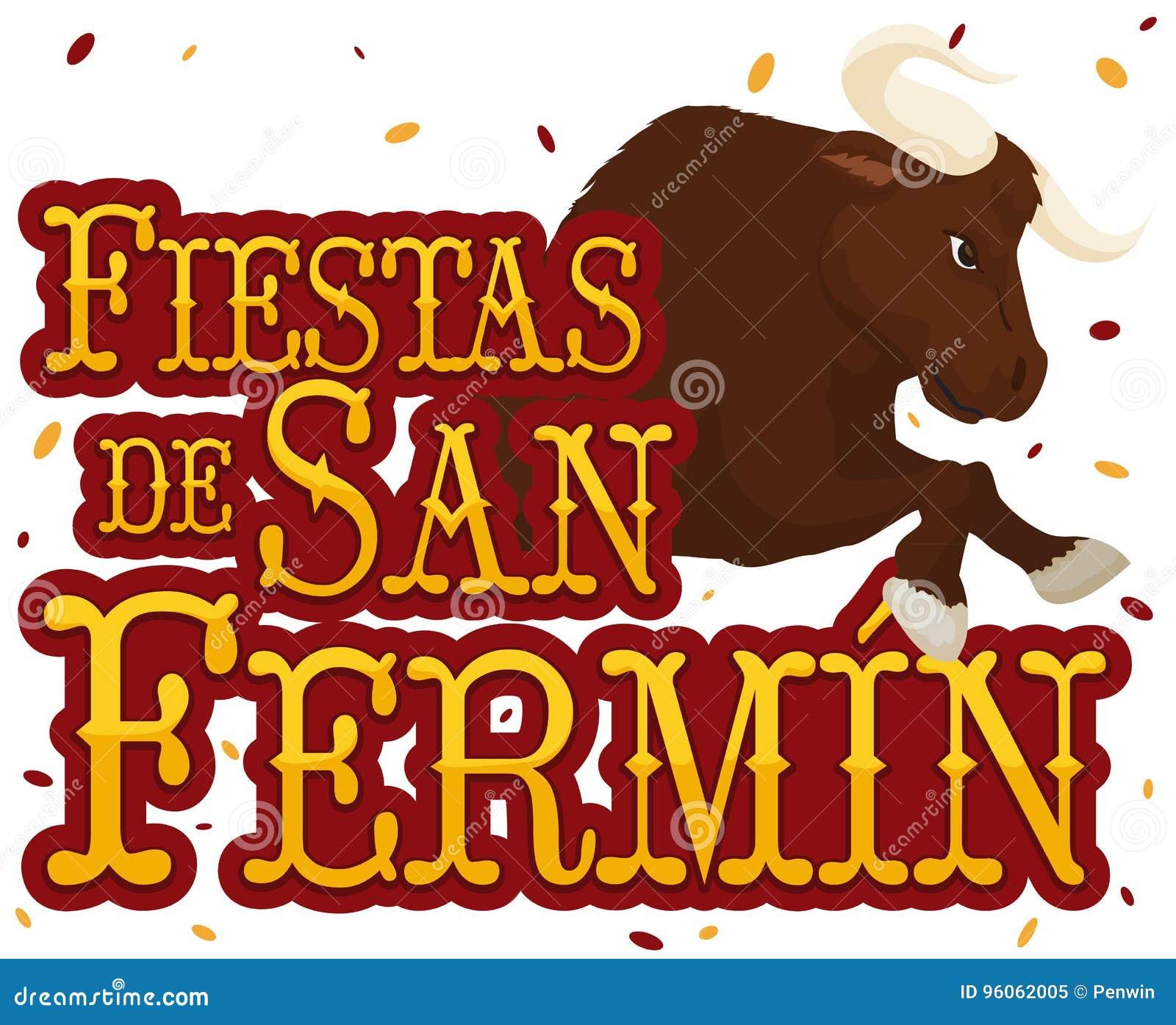 Signe, Taureau et confettis pour le festival espagnol de San Fermin, illustration de vecteur