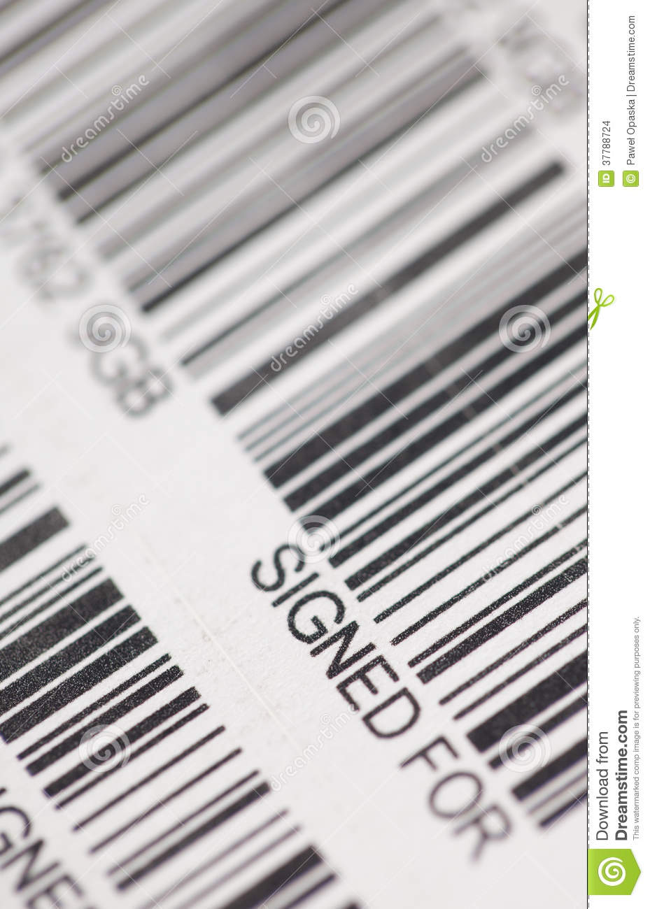 Signed for barcode stock images image 37788724 - Post office tracking item ...
