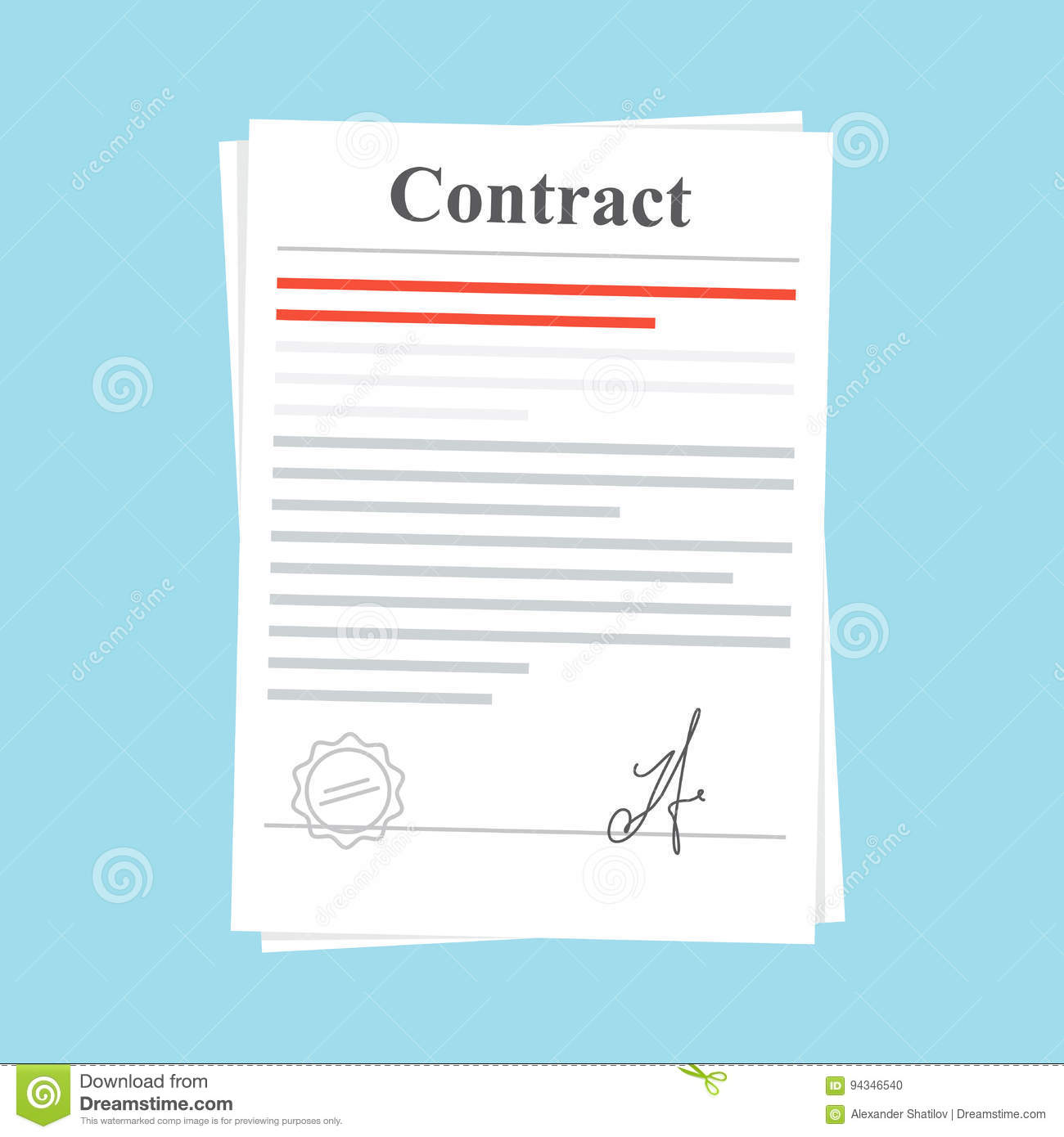 Signed Paper Deal Contract Icon Agreement Document With A Stamp And