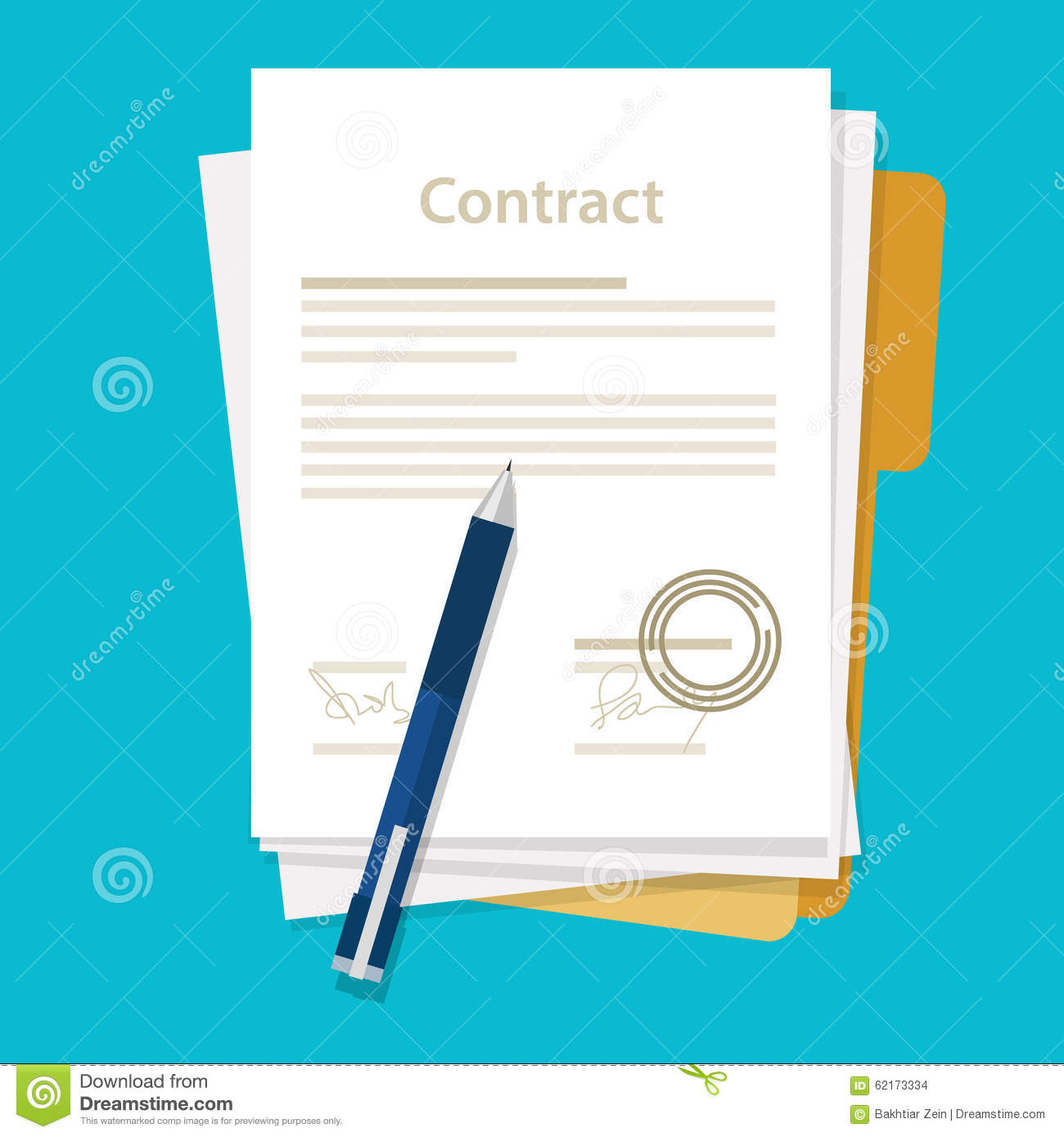 Signed Paper Deal Contract Icon Agreement Pen On Desk Flat Business