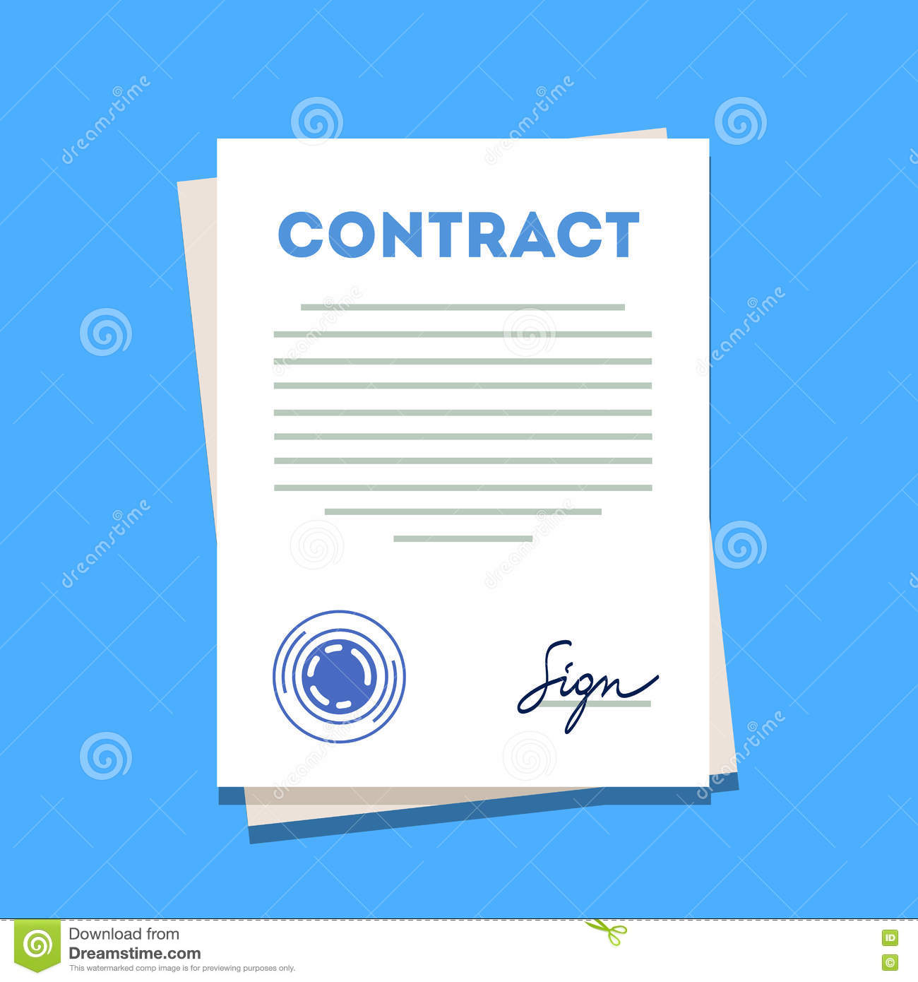 Signed and stamped contract paper icon