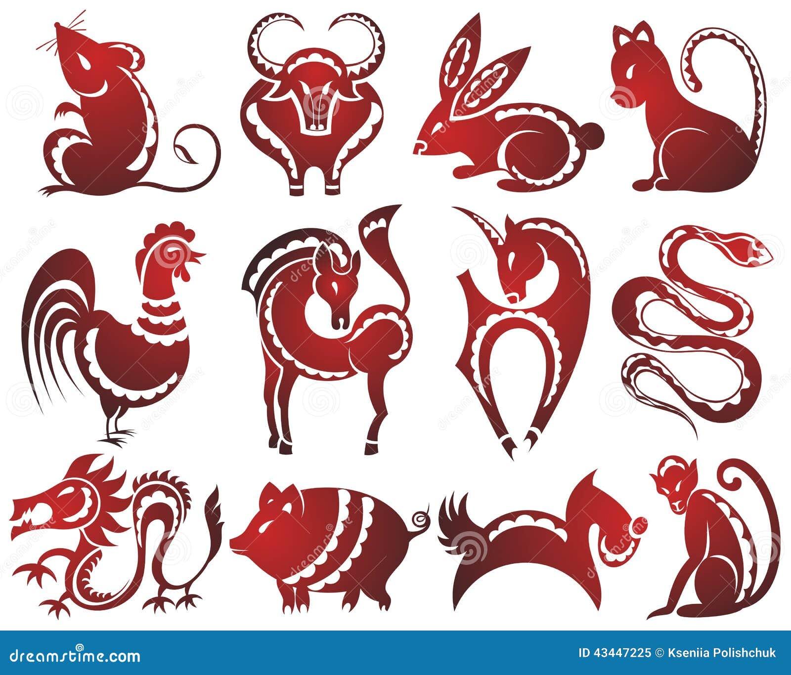 12 signes chinois de zodiaque illustration de vecteur illustration du graphismes porc 43447225. Black Bedroom Furniture Sets. Home Design Ideas