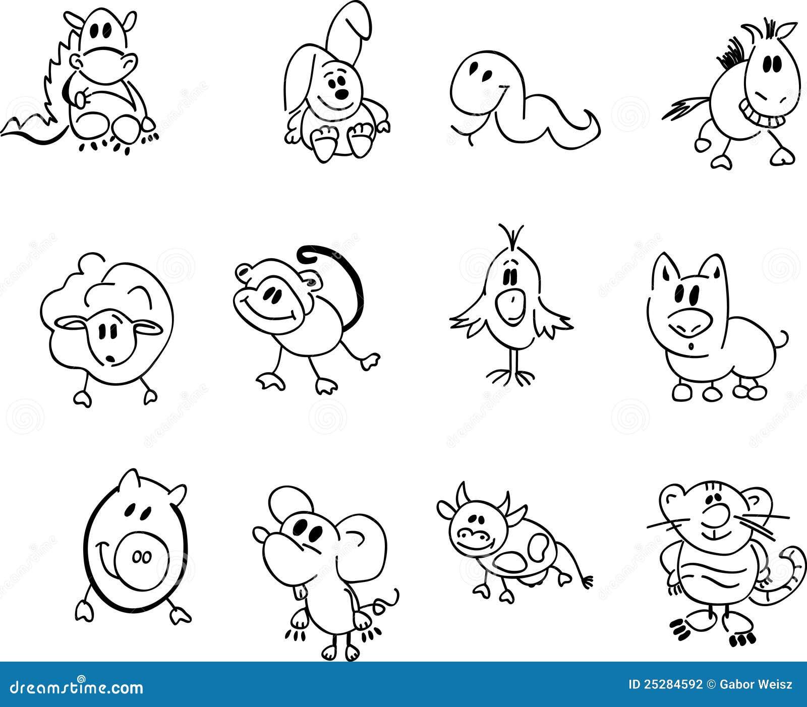 Dessin De Signe Chinois signes chinois de zodiaque de type de dessin animé illustration de