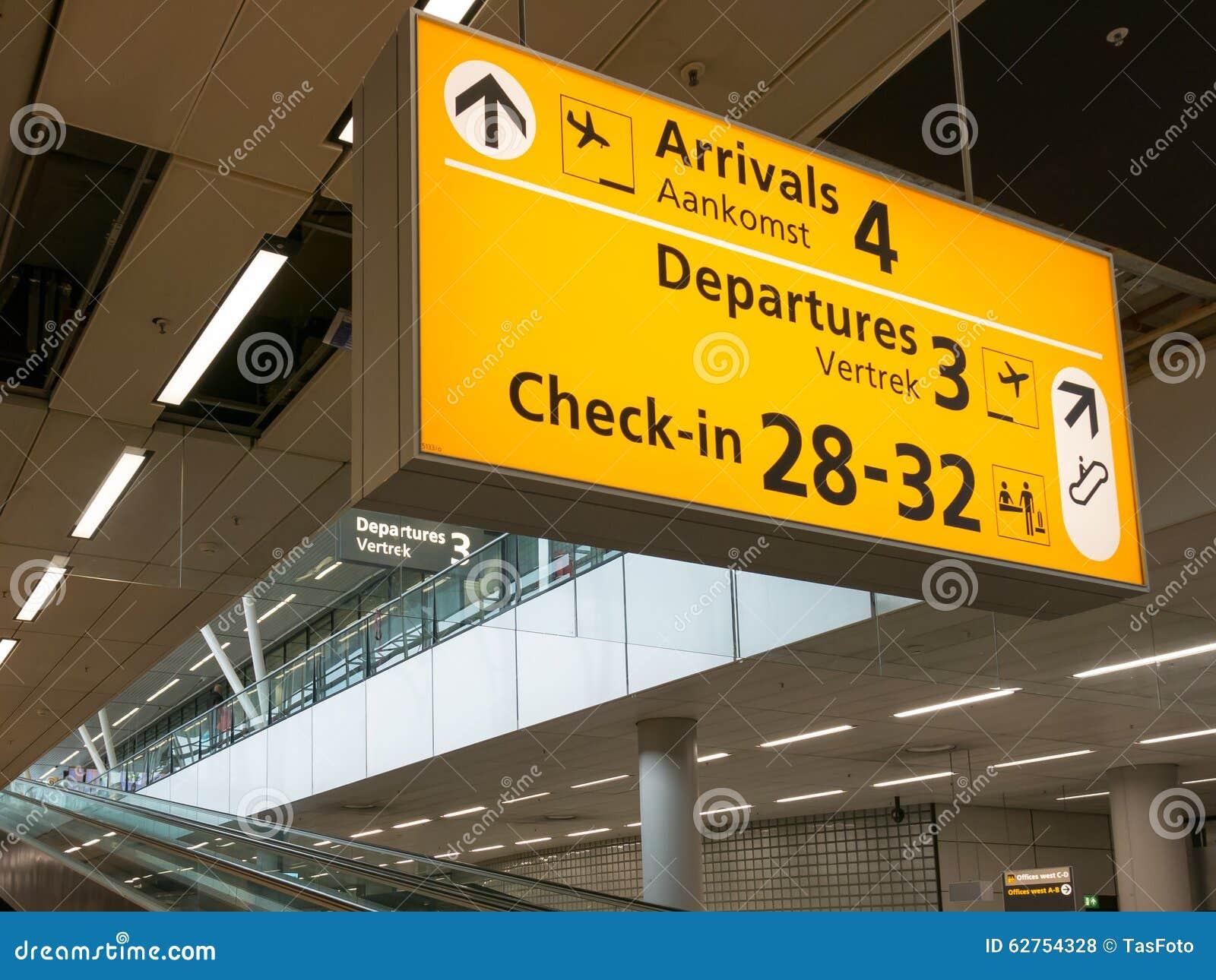 Signes de terminal d aéroport de Schiphol Amsterdam, Hollande