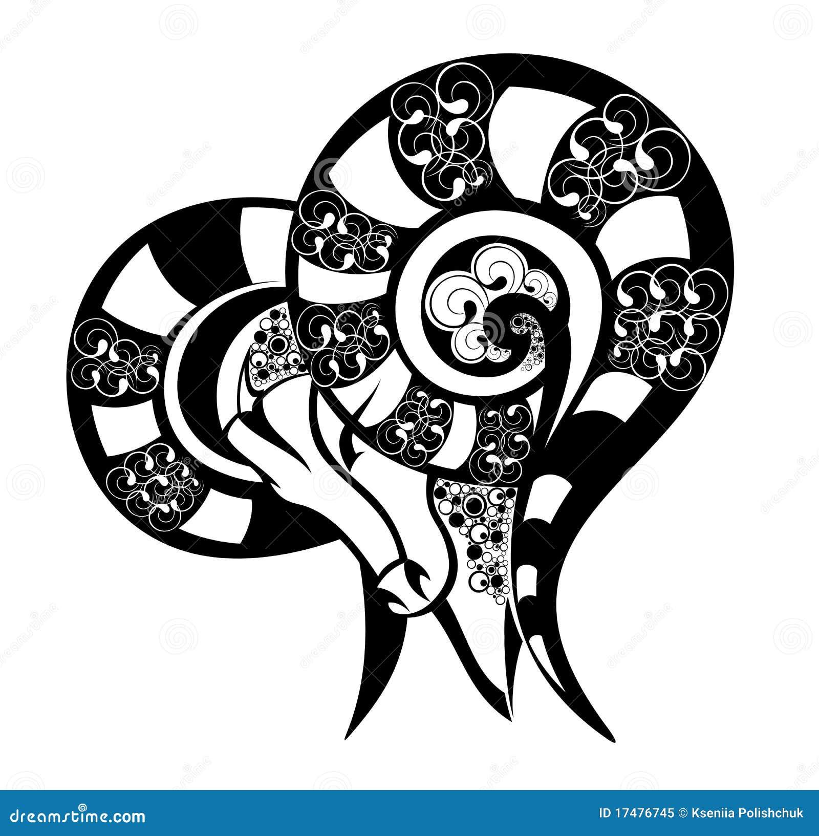 signes de zodiaque b lier conception de tatouage illustration de vecteur illustration du. Black Bedroom Furniture Sets. Home Design Ideas
