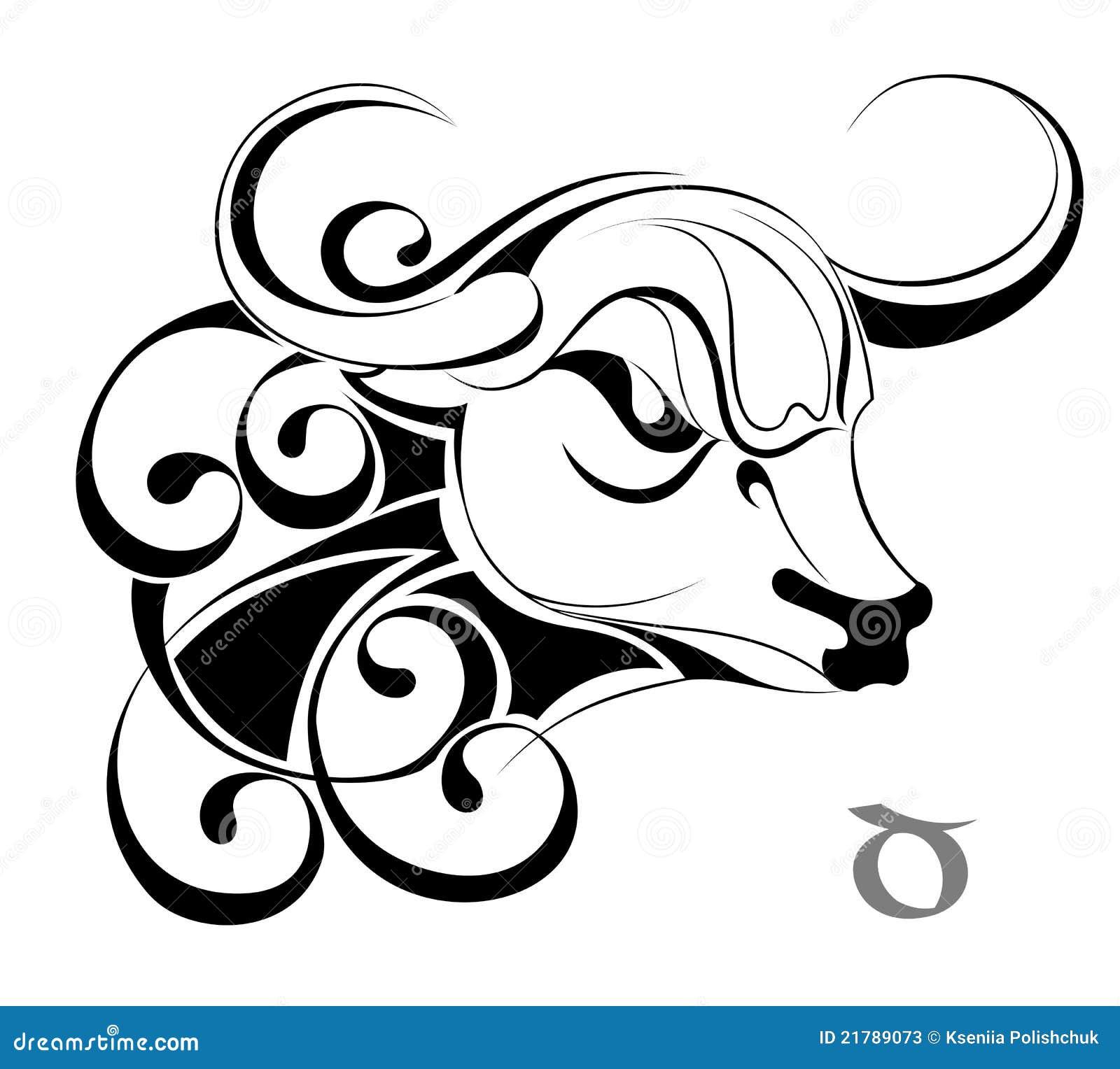Taureau de signe d'horoscope d'astrologie de zodiaque de tatouage de ...