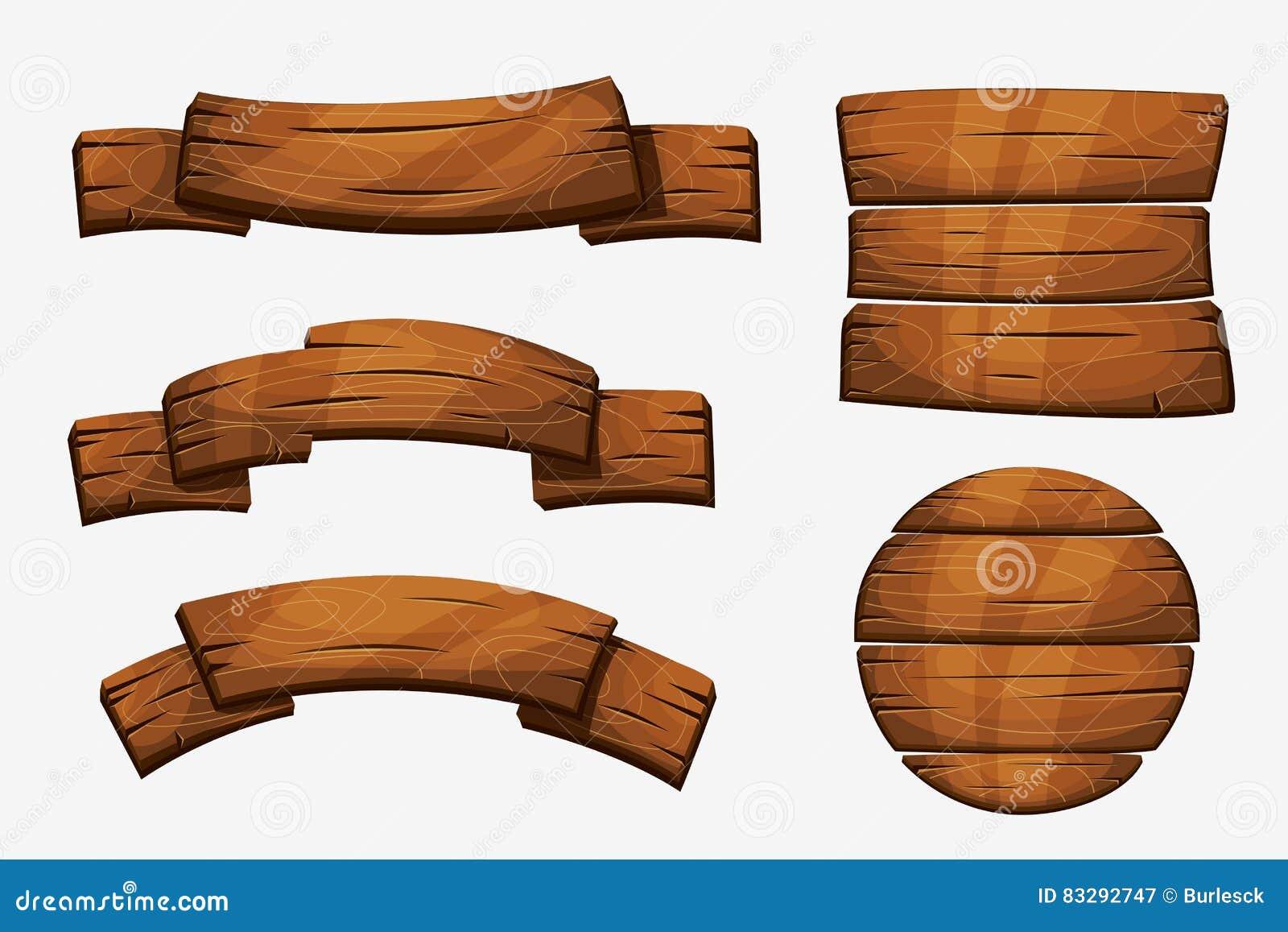 Signes en bois de planche de bande dessin e l ments en bois de vecteur de banni re sur le fond - Planche a dessin en bois ...