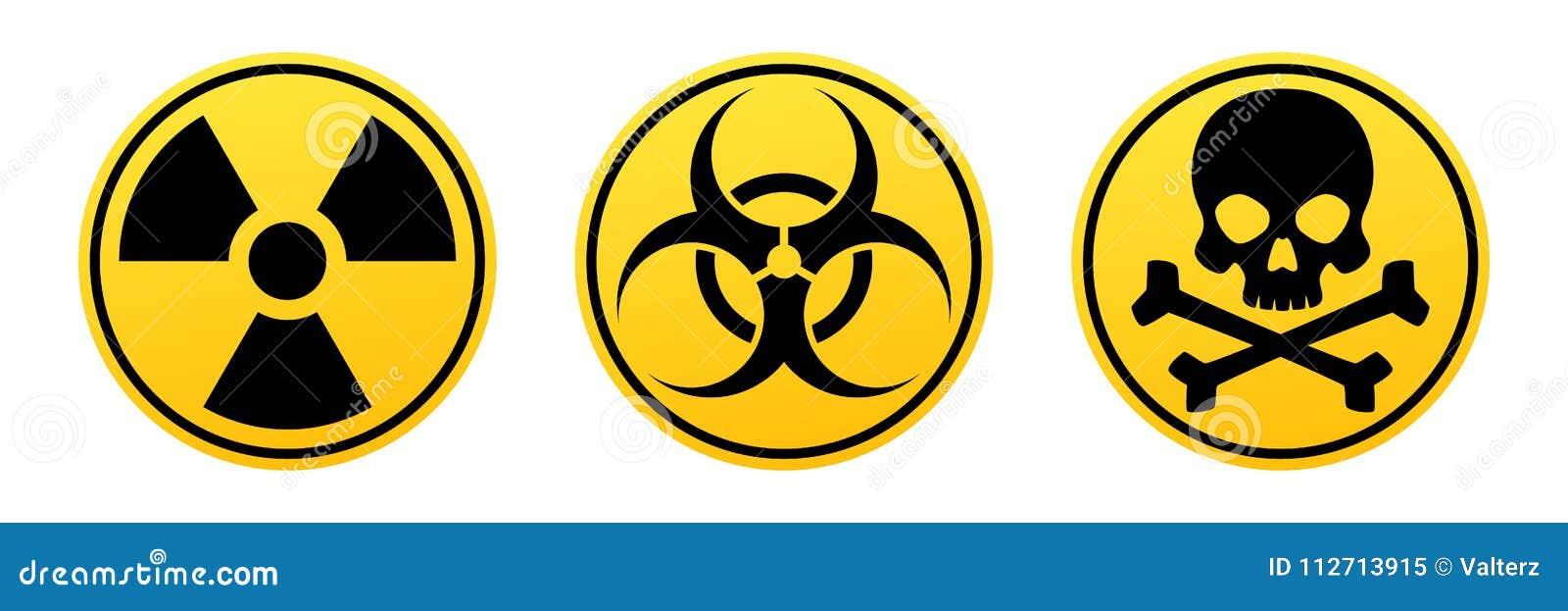 Signes jaunes de vecteur de danger Signe de rayonnement, signe de Biohazard, signe toxique