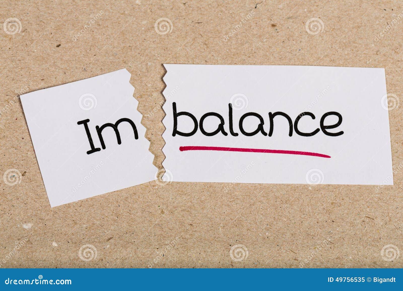 Signez avec le déséquilibre de mot transformé en équilibre