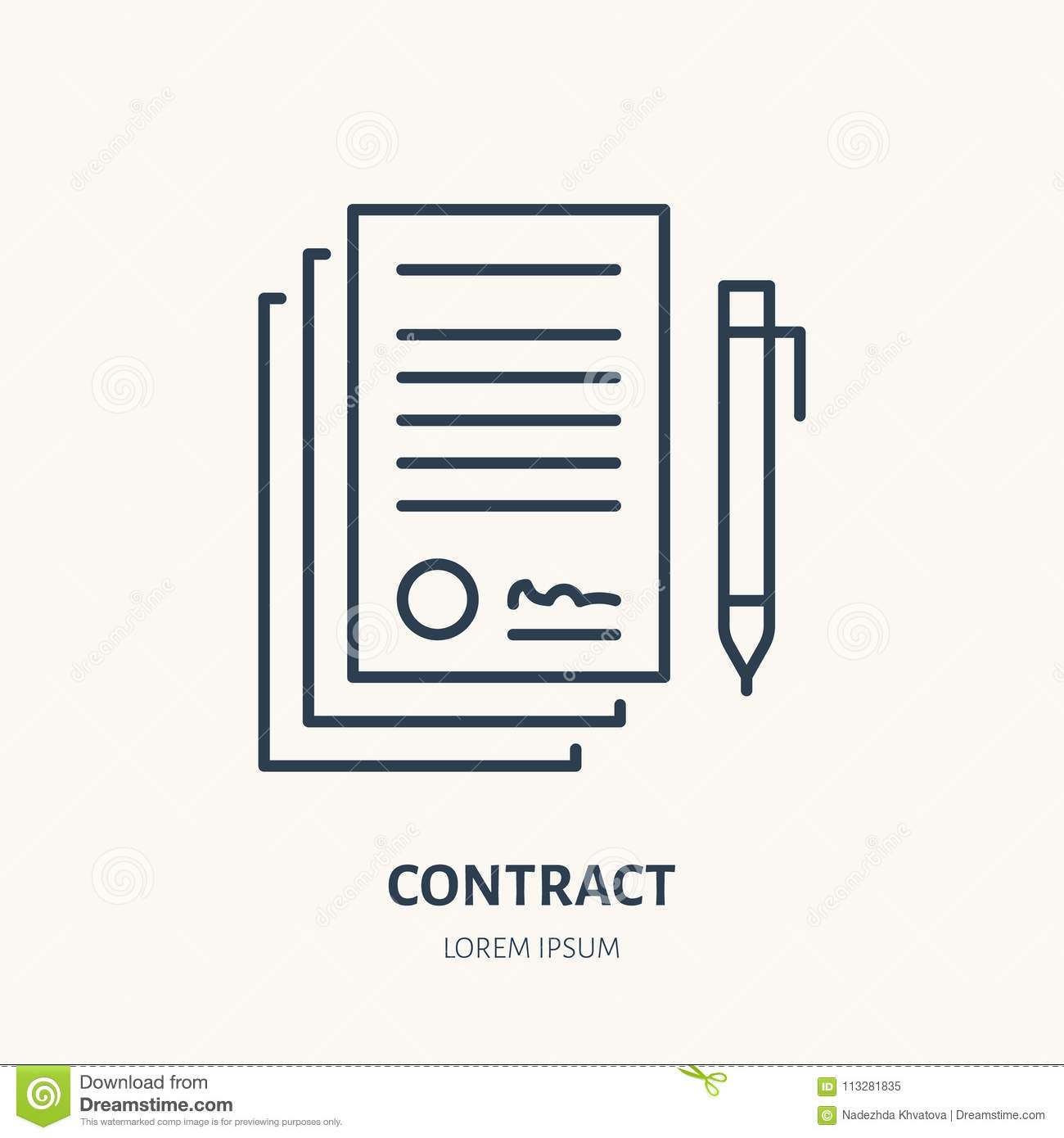 signing agreement contract vector flat line icon legal document