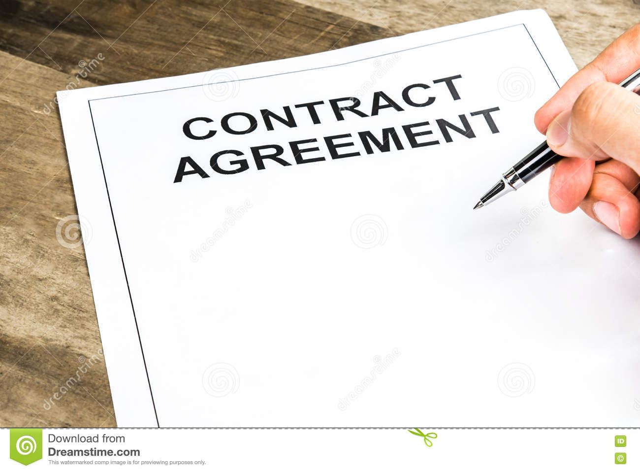 Signing On Blank Contract Agreement Paper Stock Photo - Image of ...