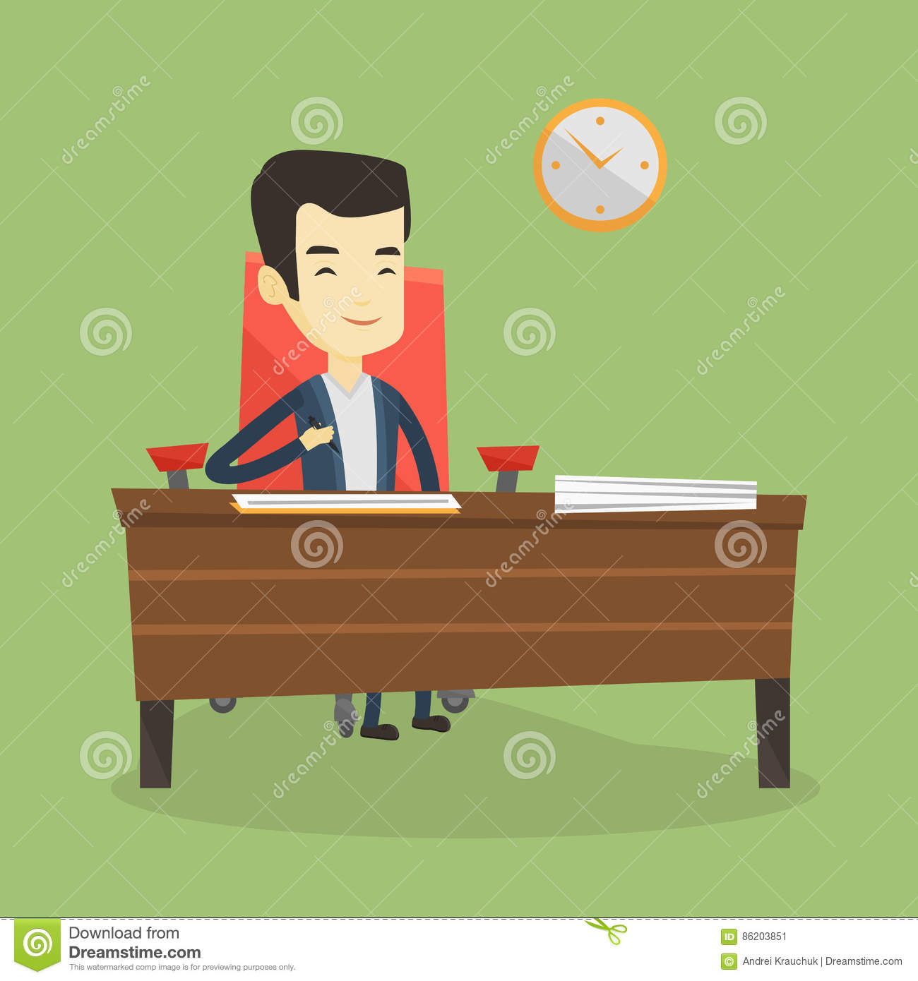 Signing Of Business Documents Vector Illustration Stock Vector