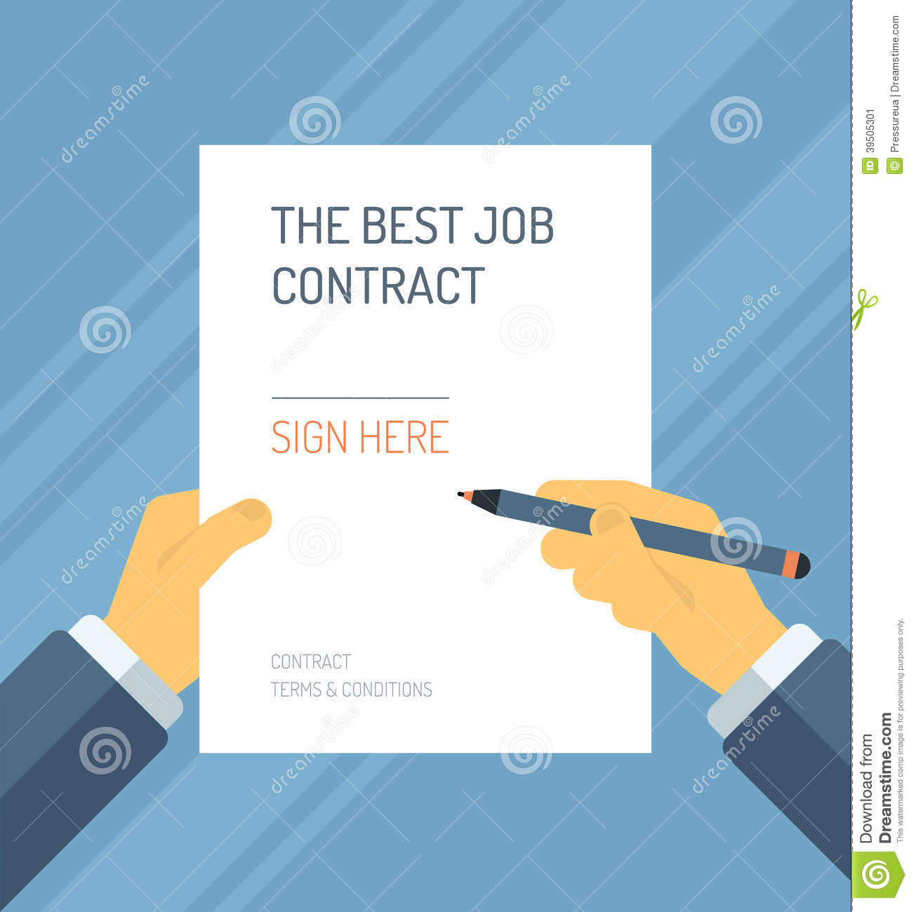 signing a contract form flat illustration stock vector image 39505301