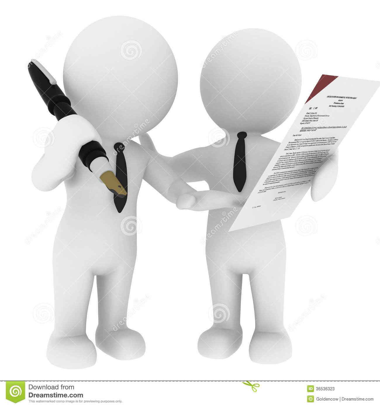 An illustration of two figures signing a contract. .