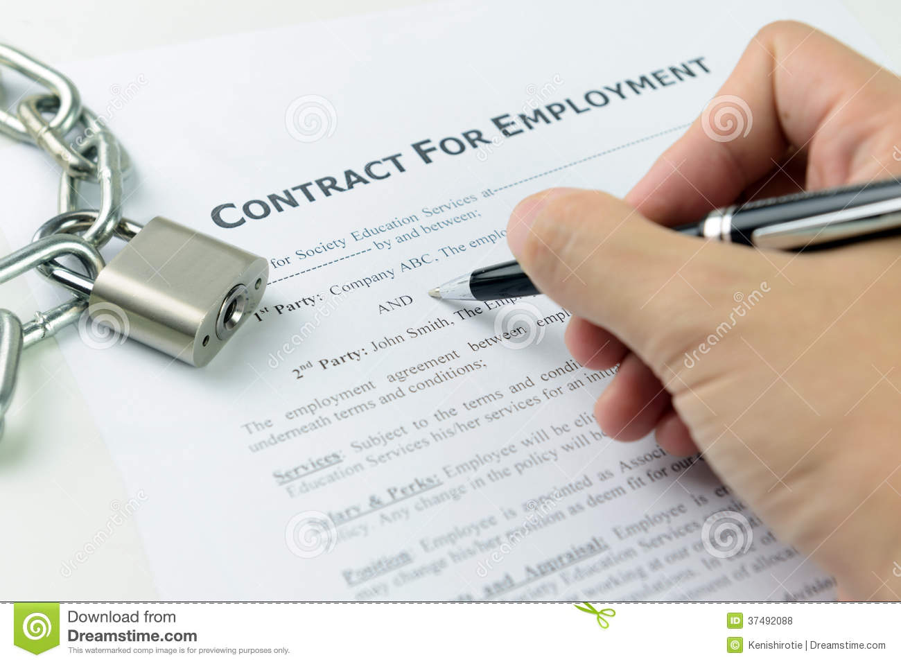 signing employment contract royalty free stock photos image 37492088