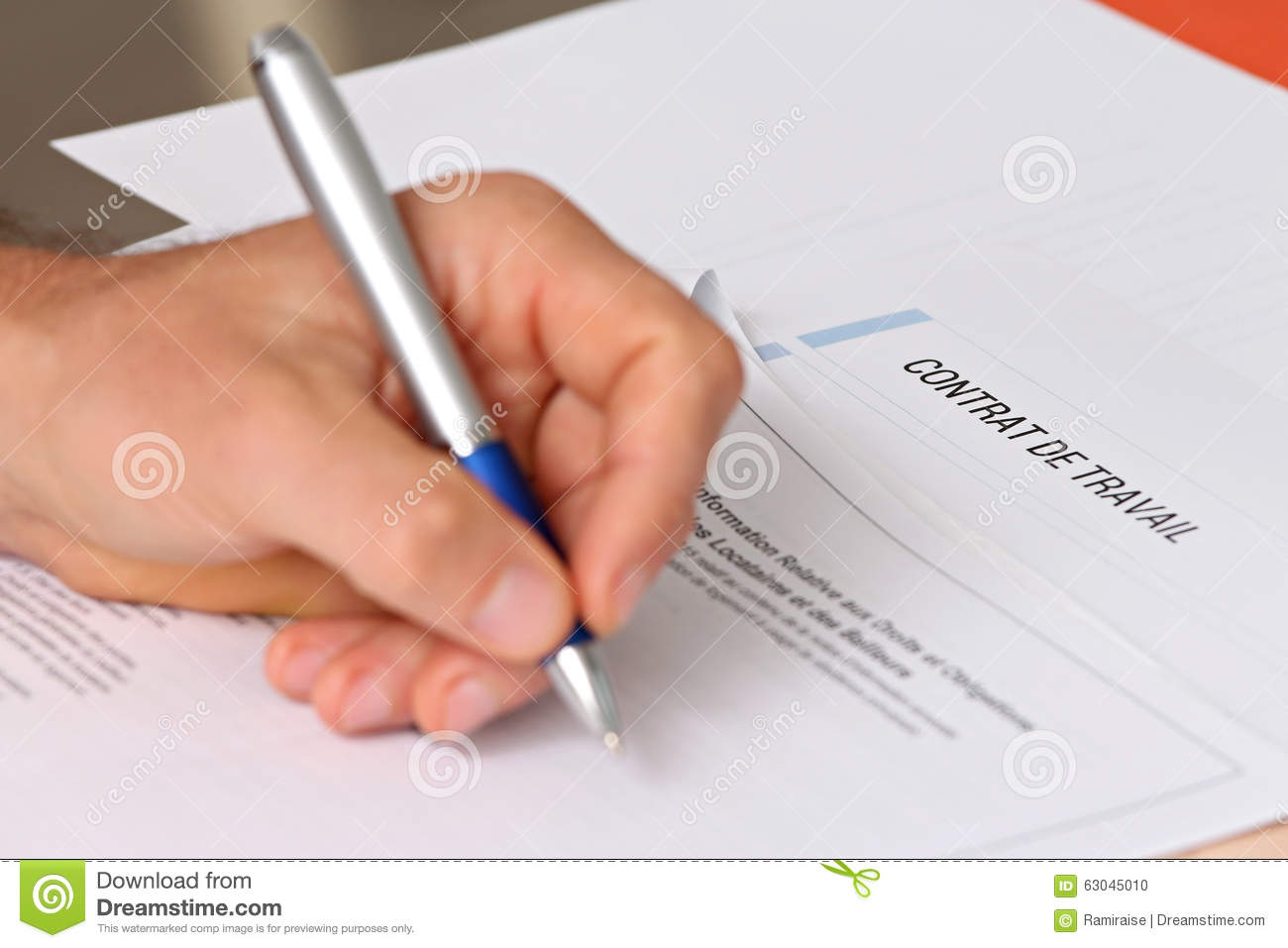 signing a french employment contract stock photo image 63045010
