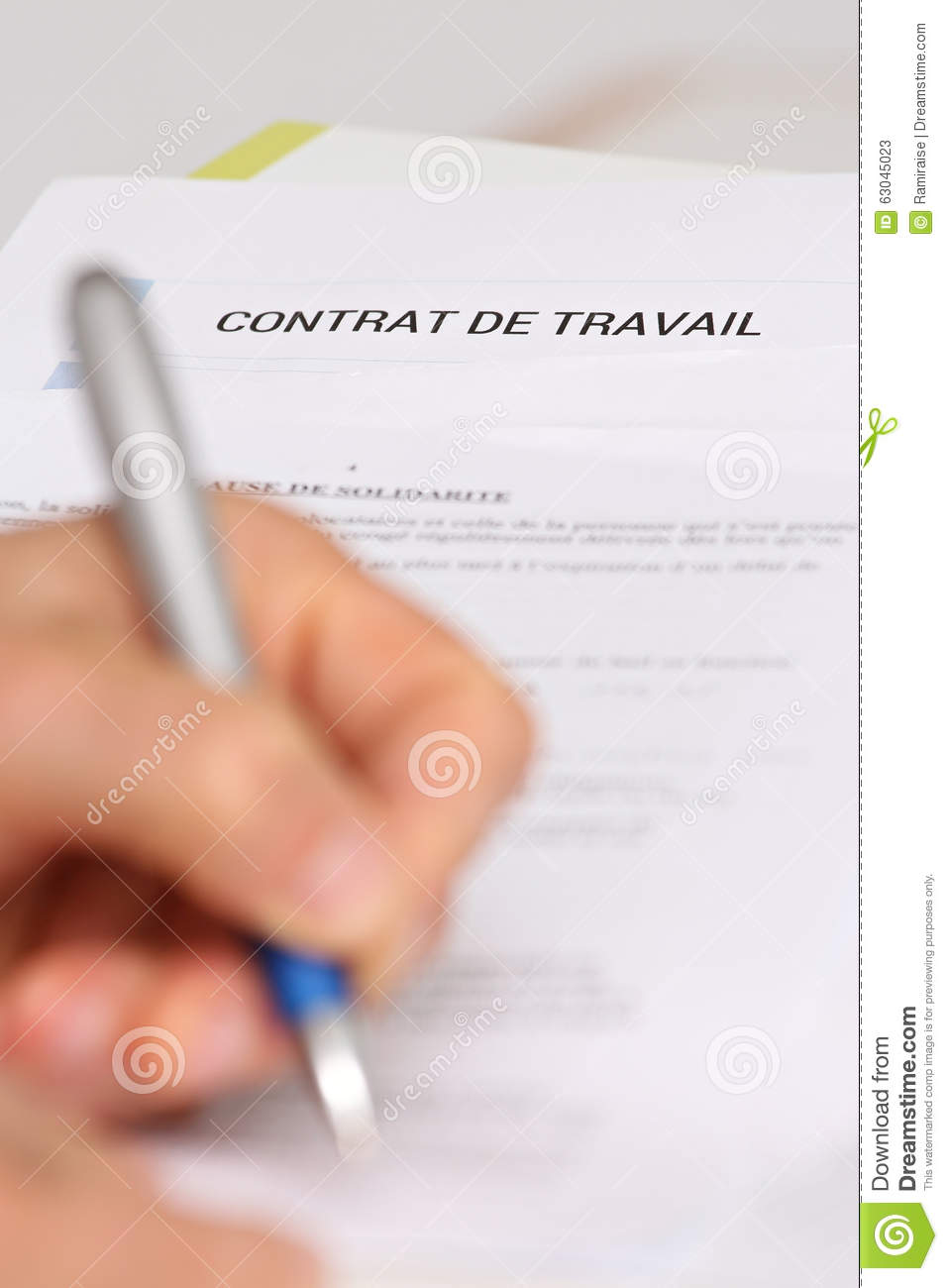 signing a french employment contract stock photo image 63045023