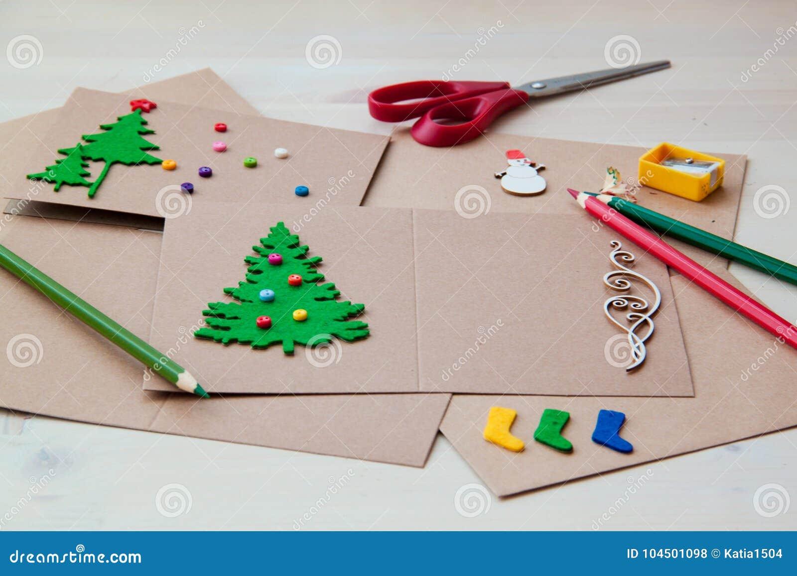Signing Handmade Christmas Cards. Felt, Scissors, Buttons, Christmas ...