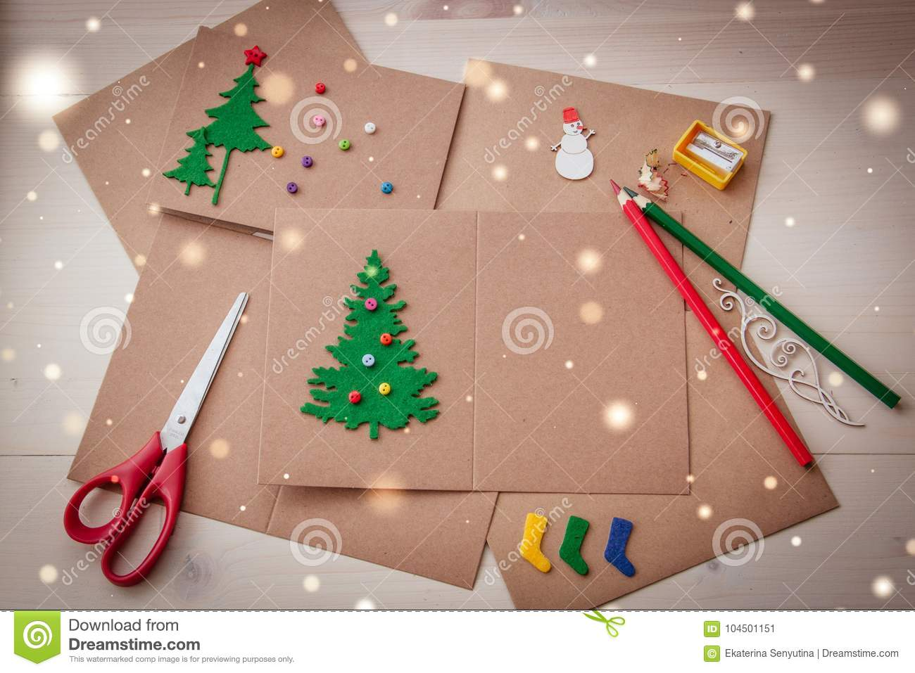 signing handmade christmas cards felt scissors buttons christmas tree scrapping