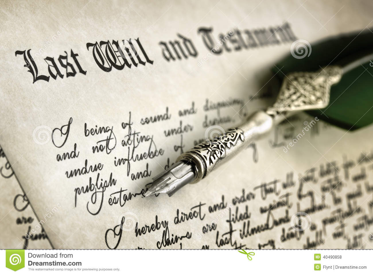 Signing Last Will And Testament Stock Photo Image 40490858