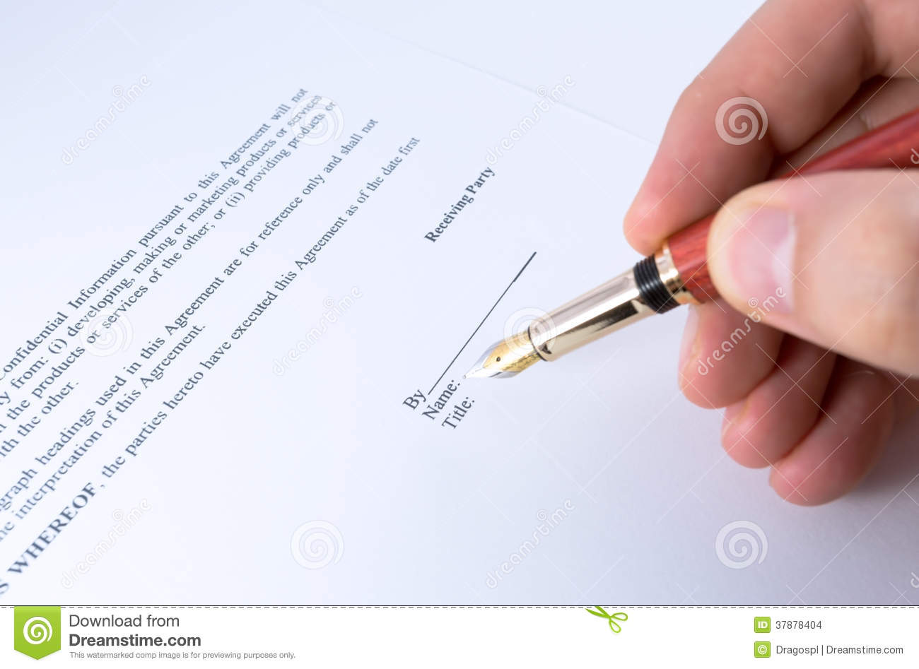 Signing Non Disclosure Agreement Stock Image