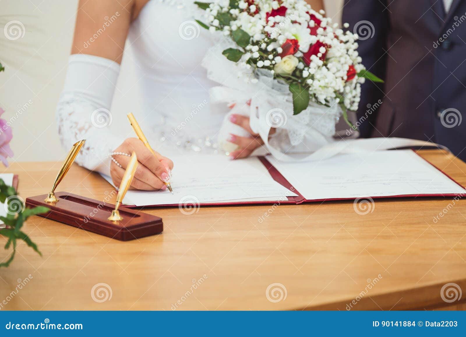 signing wedding marriage register stock photo image of bridal