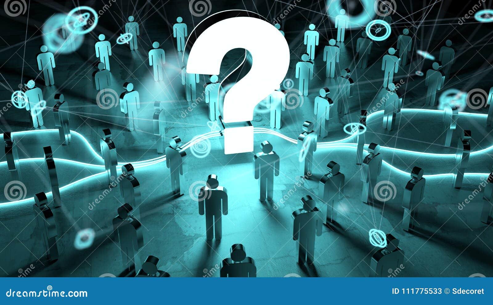 Signo de interrogación que ilumina una representación del grupo de personas 3D