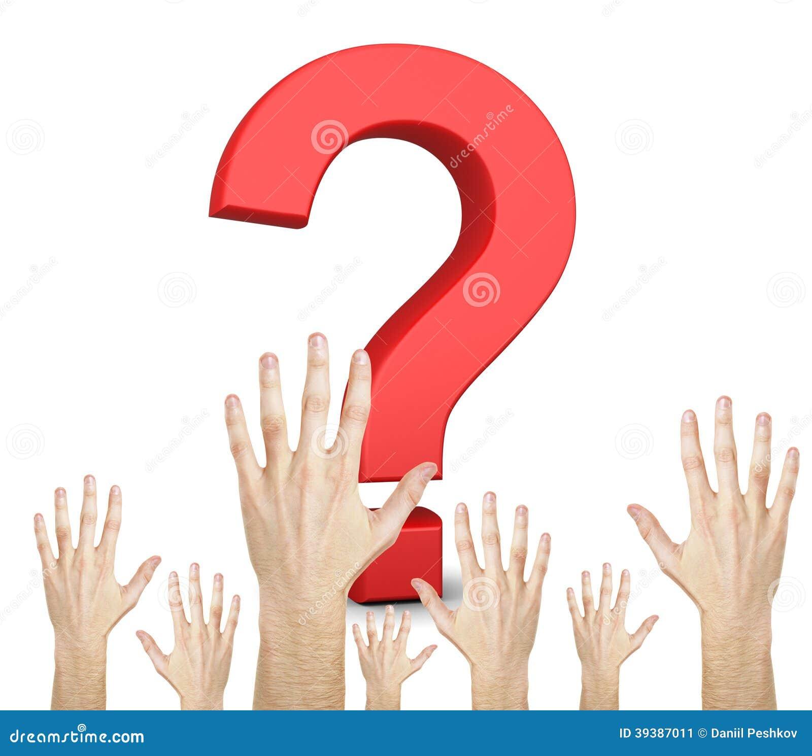 Signo y manos de interrogación