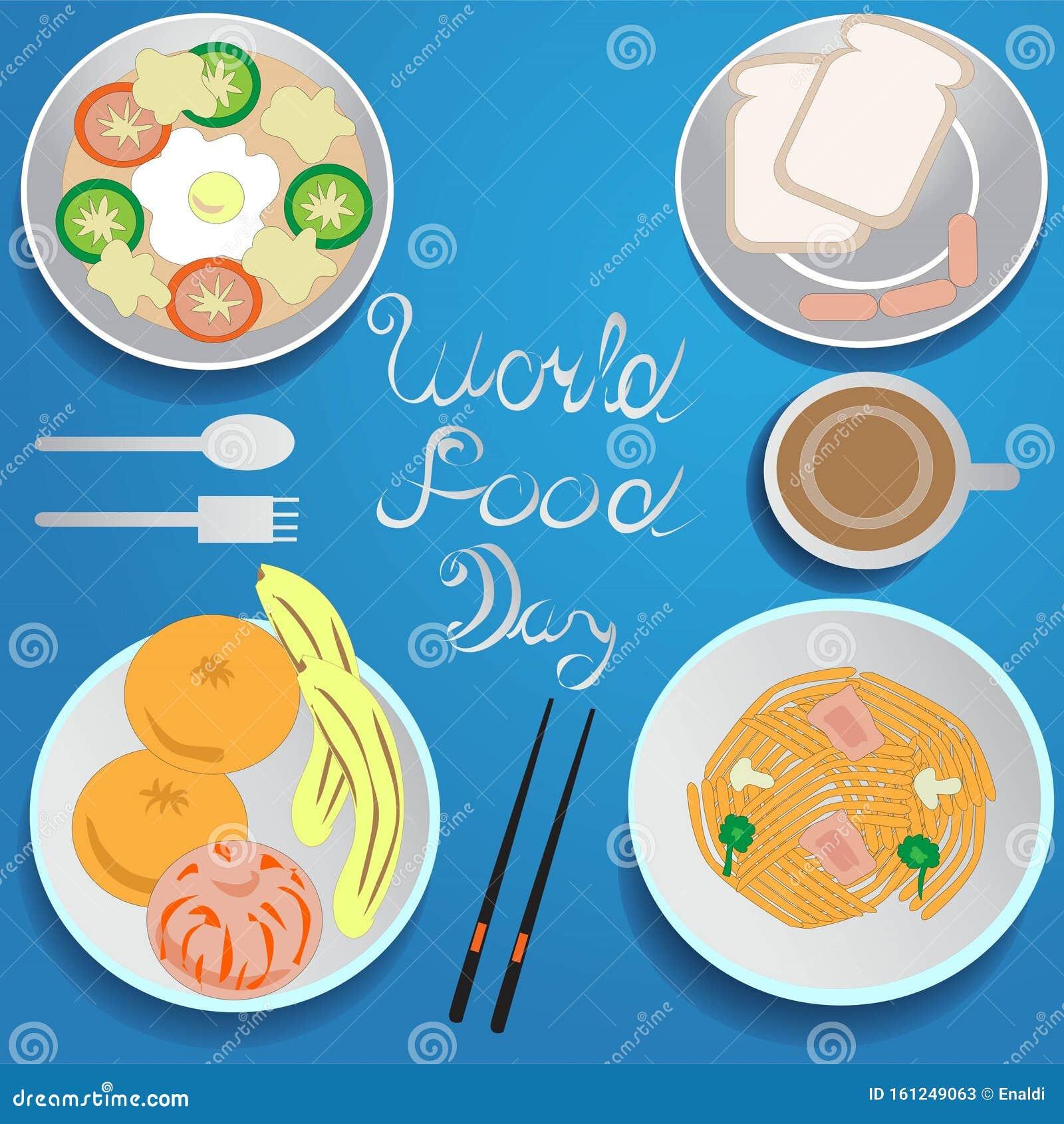 Signo Y Simbolo Del Dia Mundial De La Alimentacion Ilustracion Del Vector Ilustracion De Tallarines Cocina 161249063