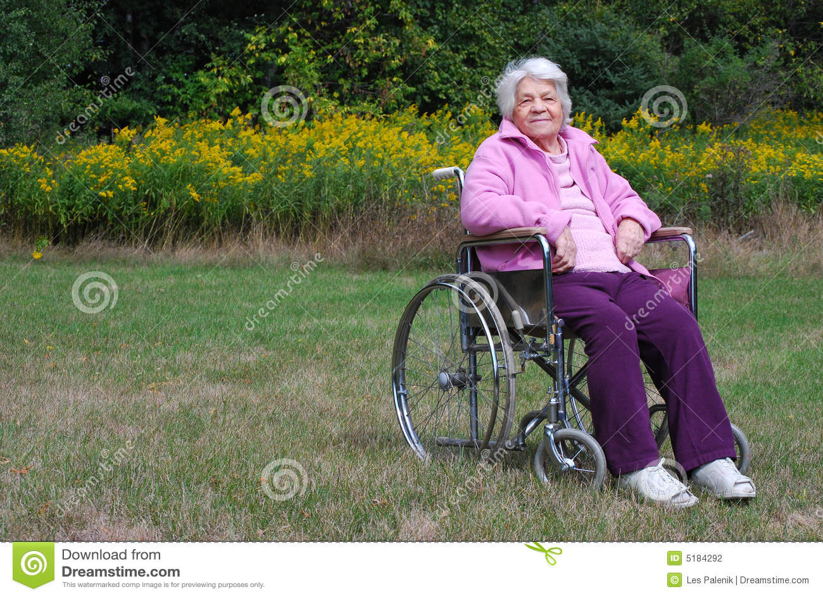 Signora Anziana In Una Sedia A Rotelle Fotografia Stock