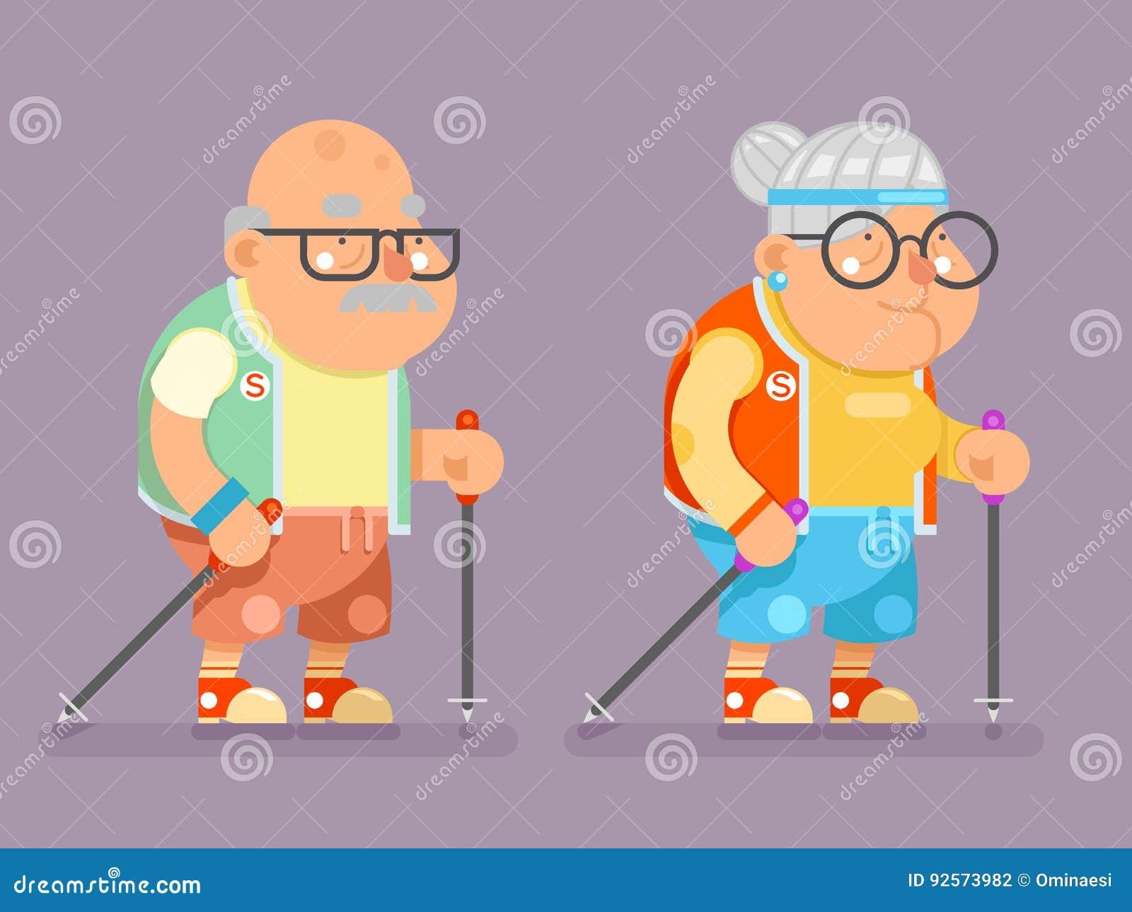 Signora attiva Character Cartoon Flat dell uomo anziano del bastone da passeggio della Finlandia del nordico di età di stile di v