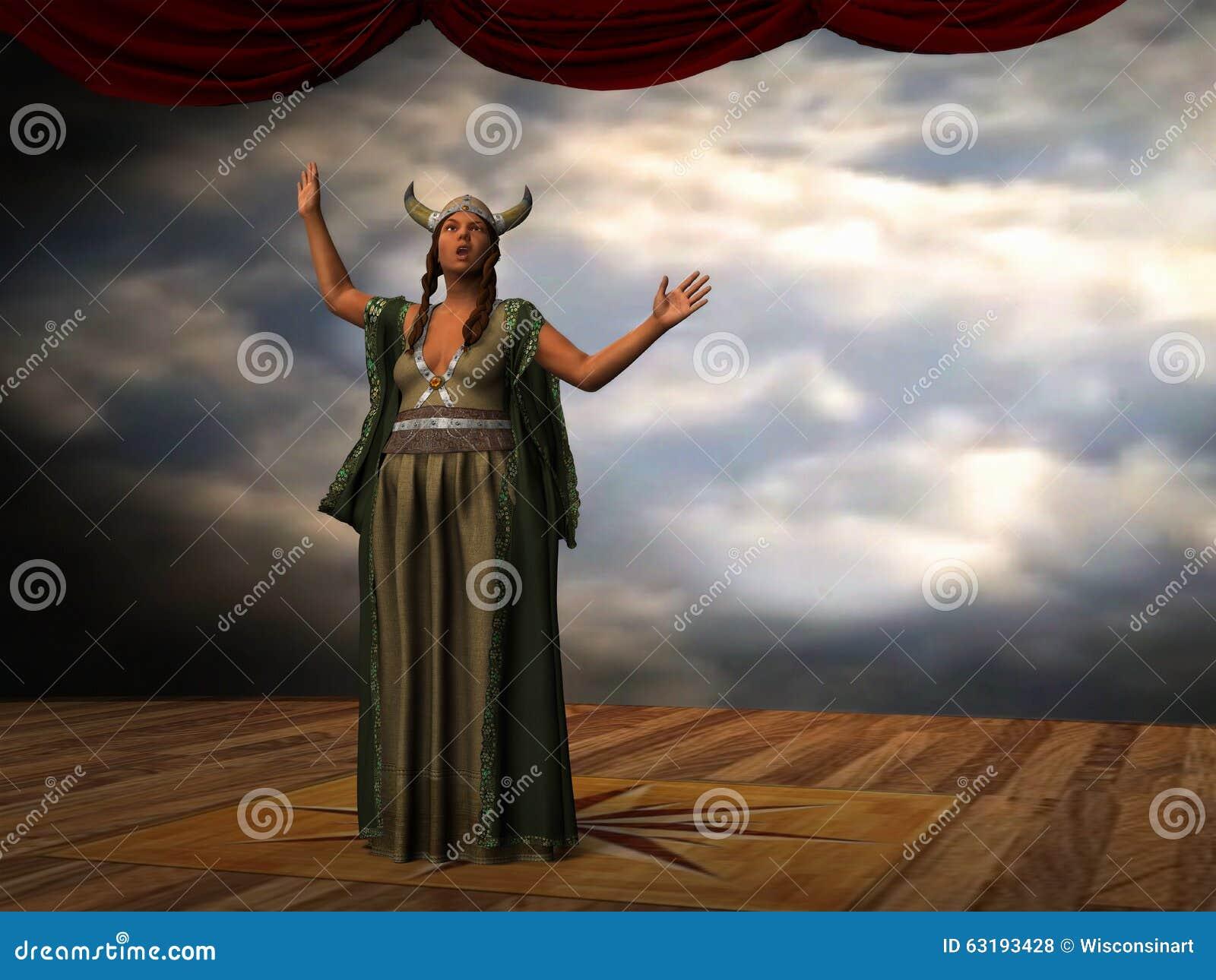 Signora Grassa Canta Lopera Cantante Illustration Illustrazione Di