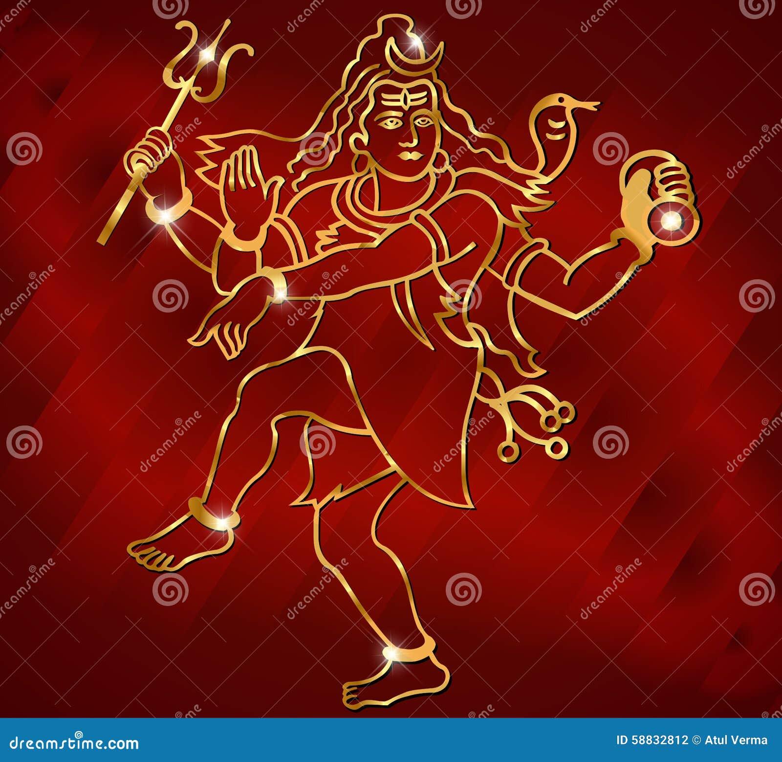 Signore Shiva della divinità indù su un fondo rosso scintillante