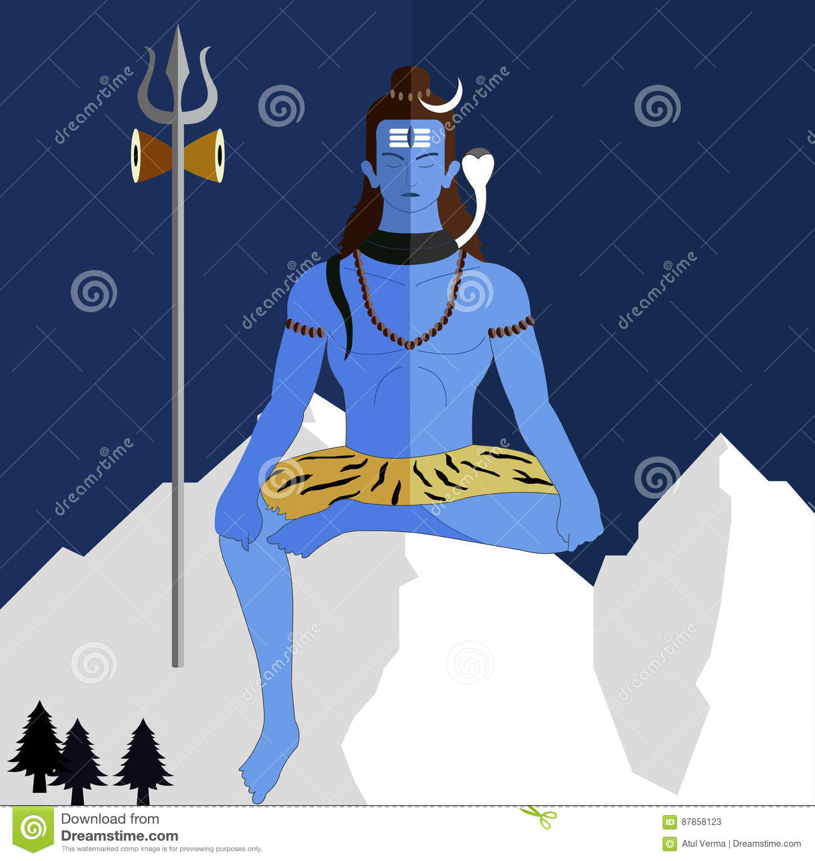 Signore Shiva su un fondo piano, jayanti della divinità indù dello shiv