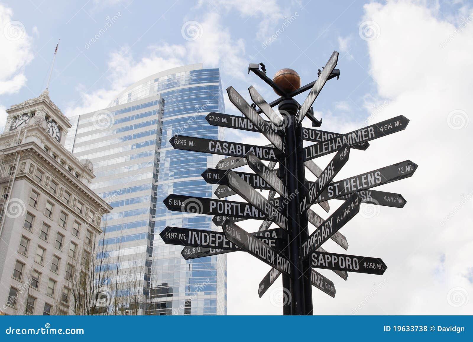 Signpost direcional aos marcos do mundo