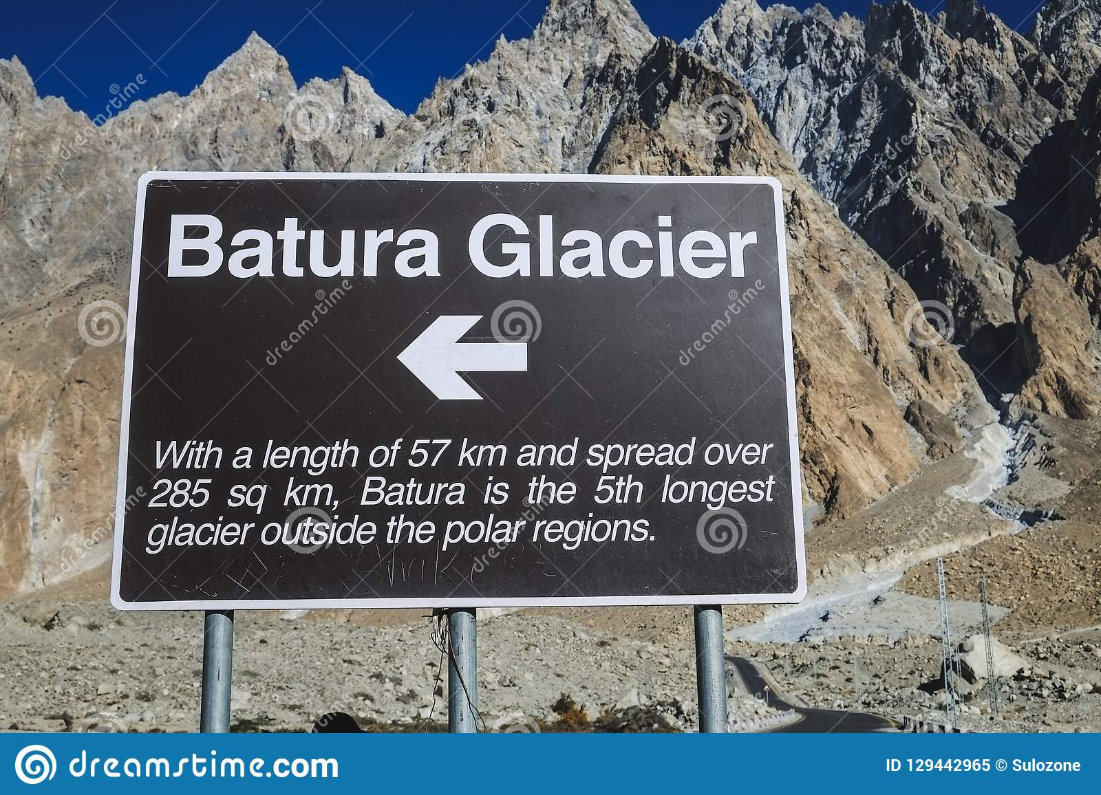 A signpost of direction and information of the Batura Glacier.
