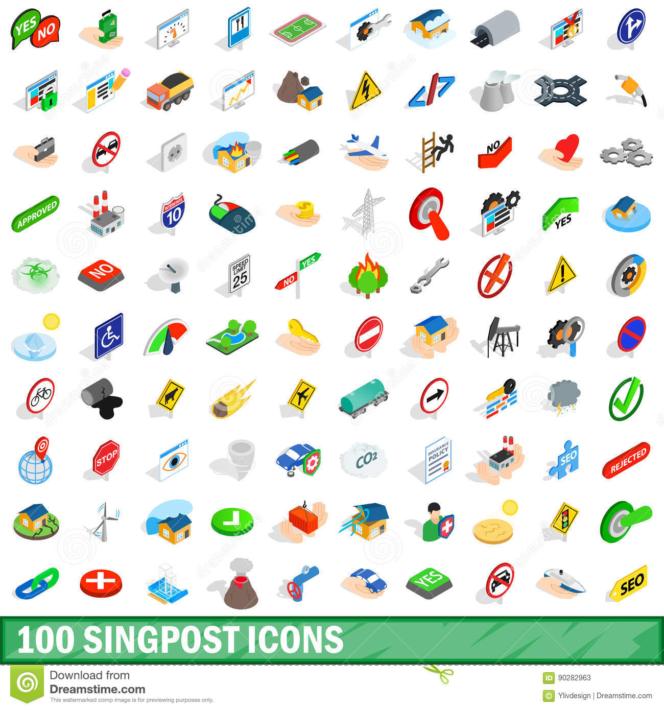 100 signpost icons set, isometric 3d style